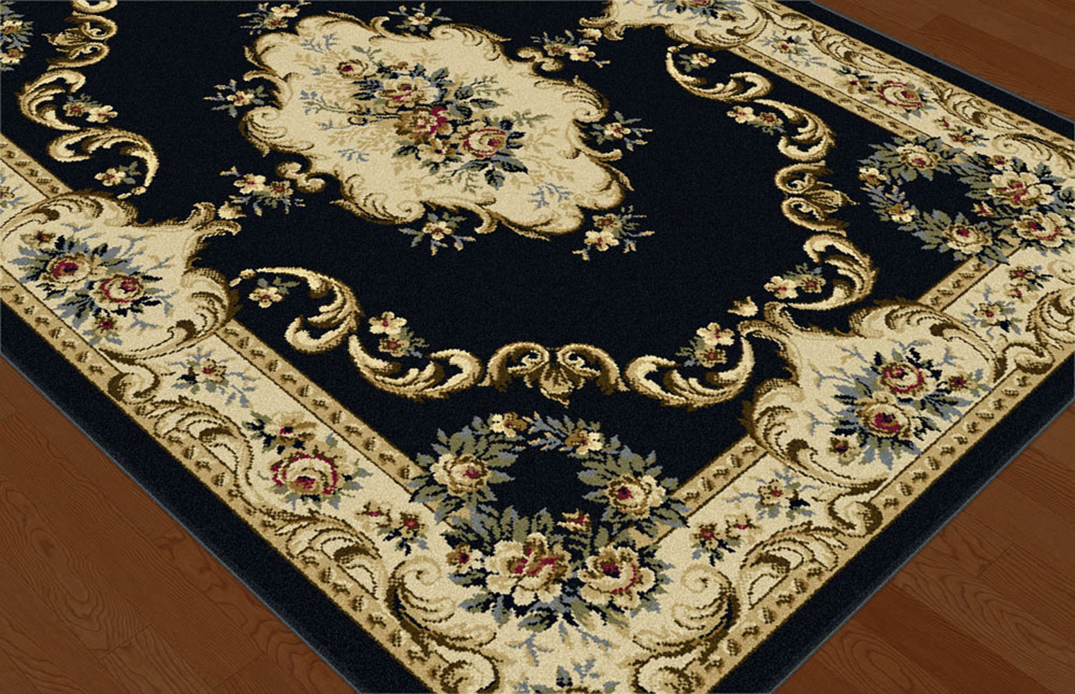 Black Traditional Oriental Border Floral Area Rug Roses