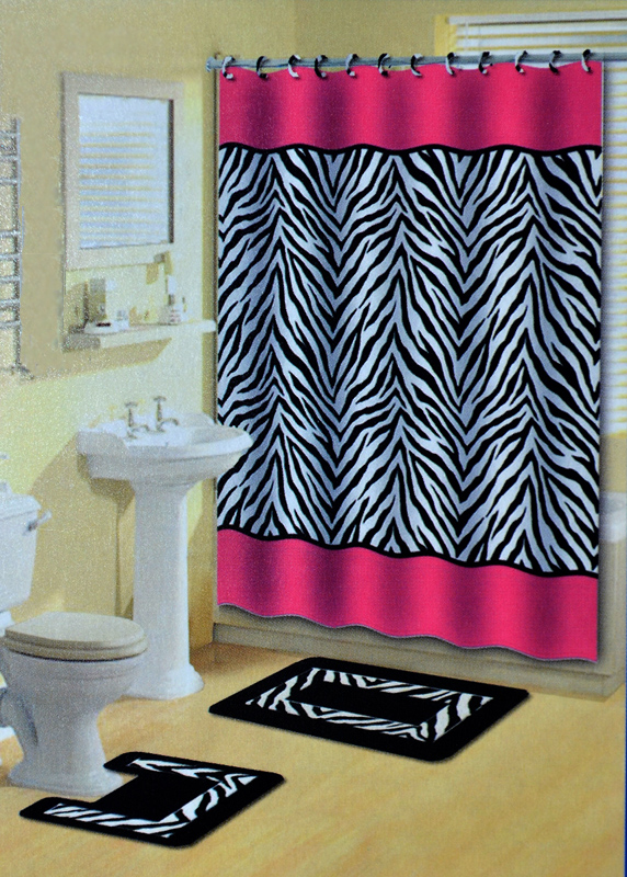 Pink Zebra Stripes Animal Print 15 Pcs Shower Curtain W Hooks Bathroom Rug Set