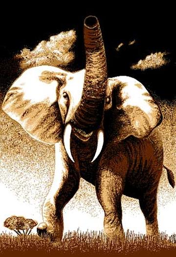 Bold African Elephant Tusks Area Rug Modern Kenya Safari