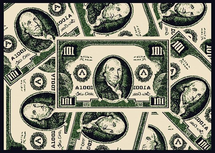 Benjamin Franklin Modern Money Area Rug Green Hundred