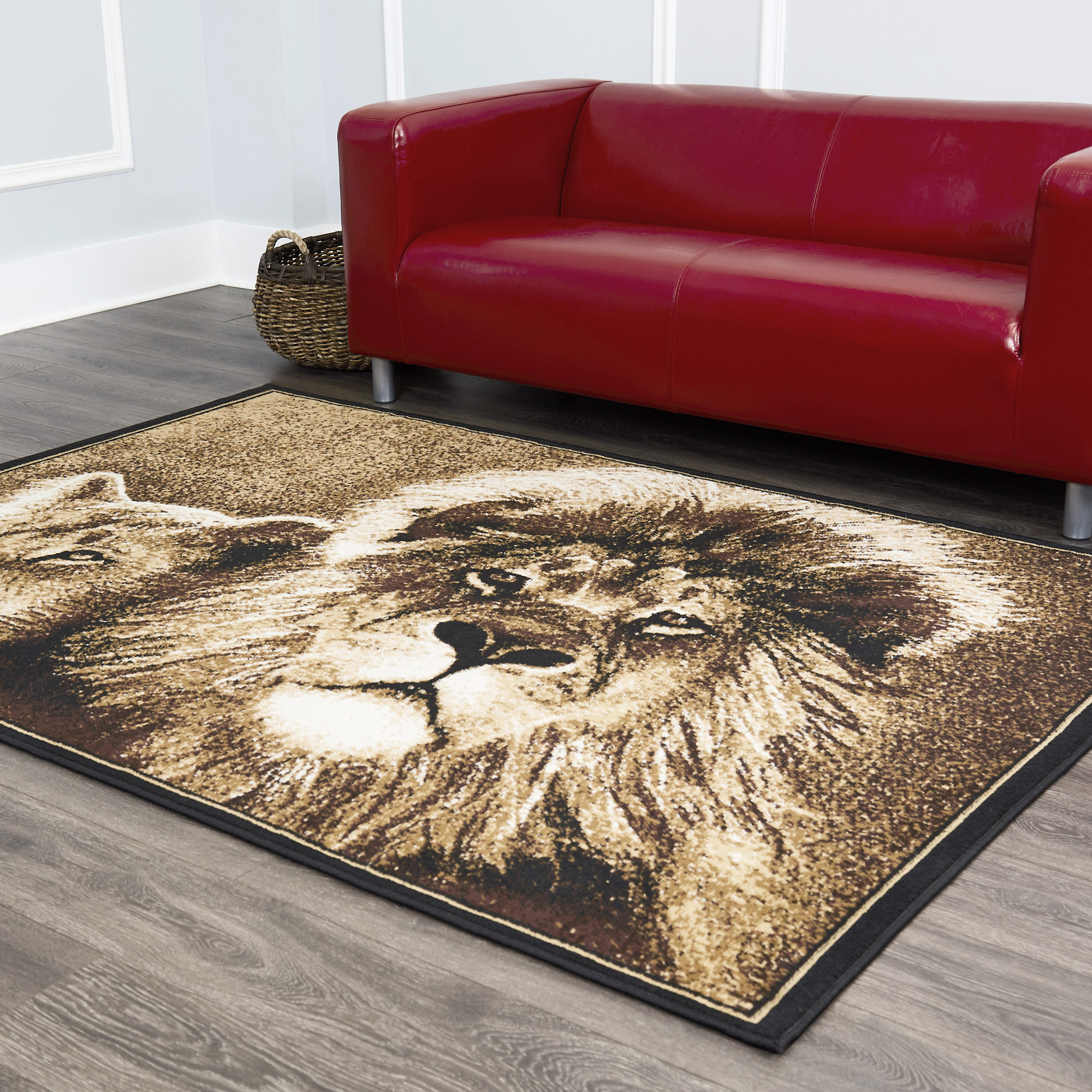 African Lion Lioness Big Cat Beige Area Rug King Of The