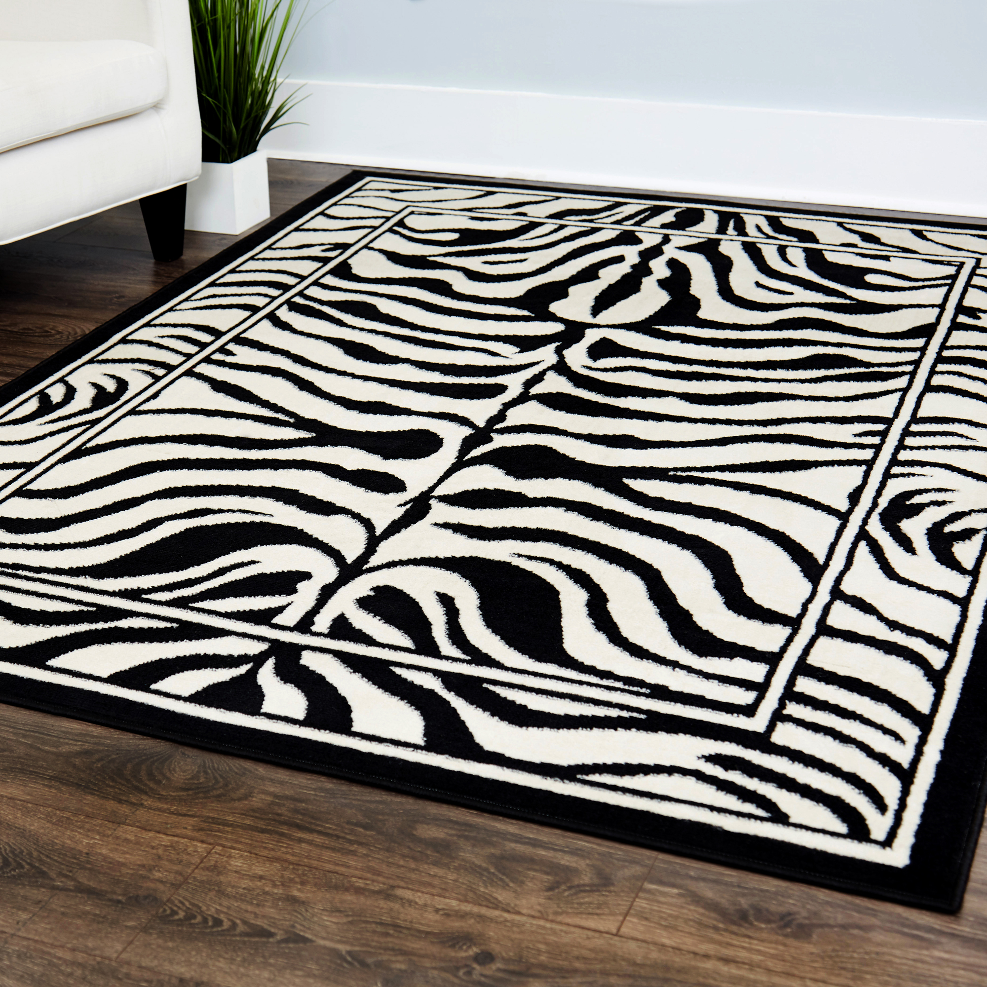 Contemporary Zebra Skin Design Area Rug 8x11 Safari Carpet