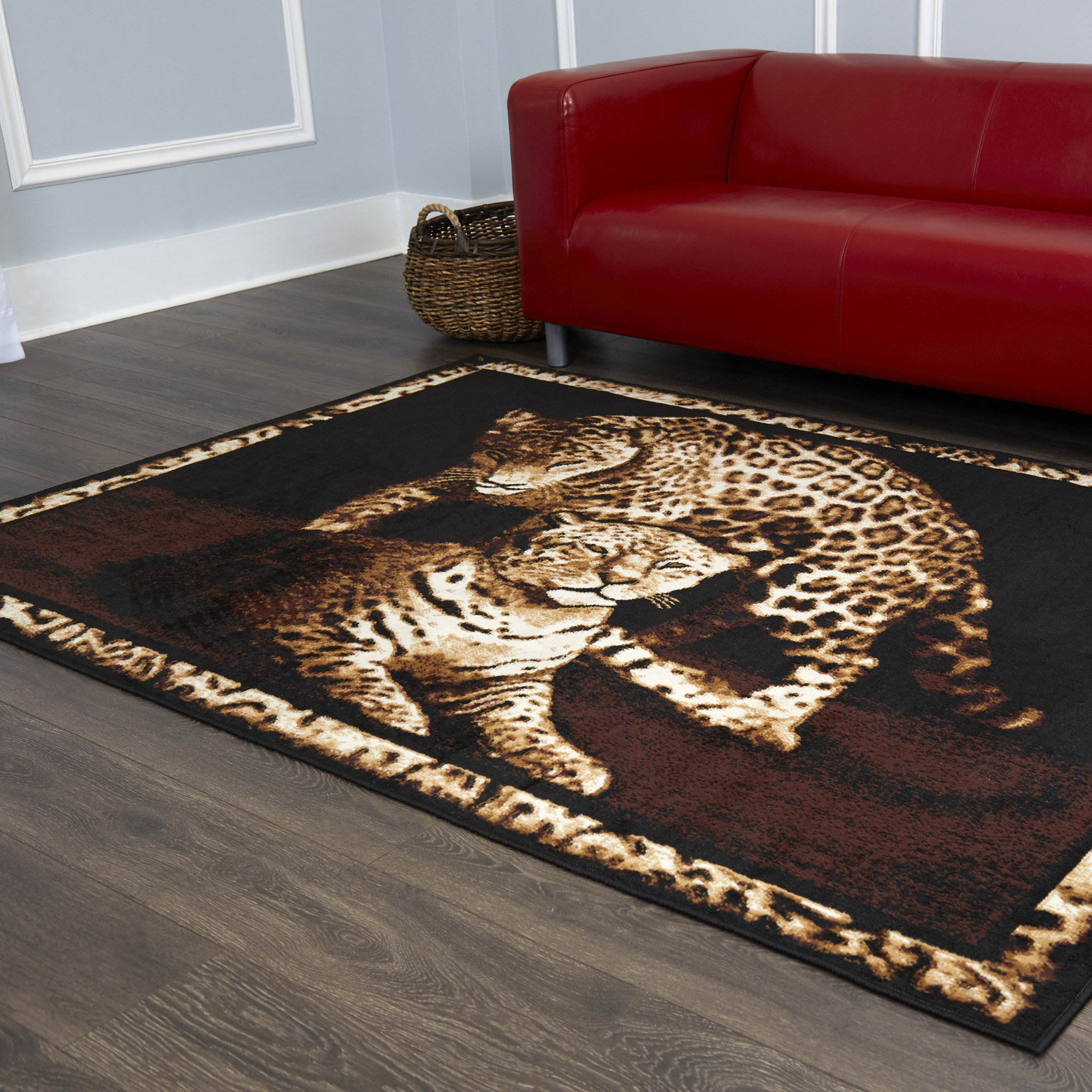 Leopard Family Area Rug 6x8 African Border Carpet New ...
