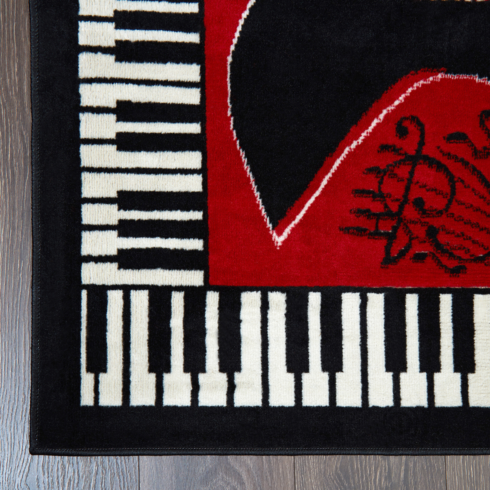 Musical Instrument Piano Key Bordered Red Area Rug Guitar