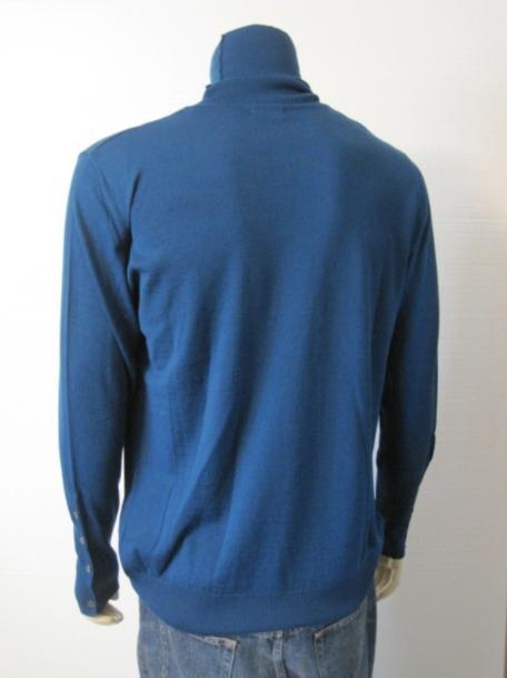 Tween London Mens Teal Graphic Wool Turtleneck Sweater