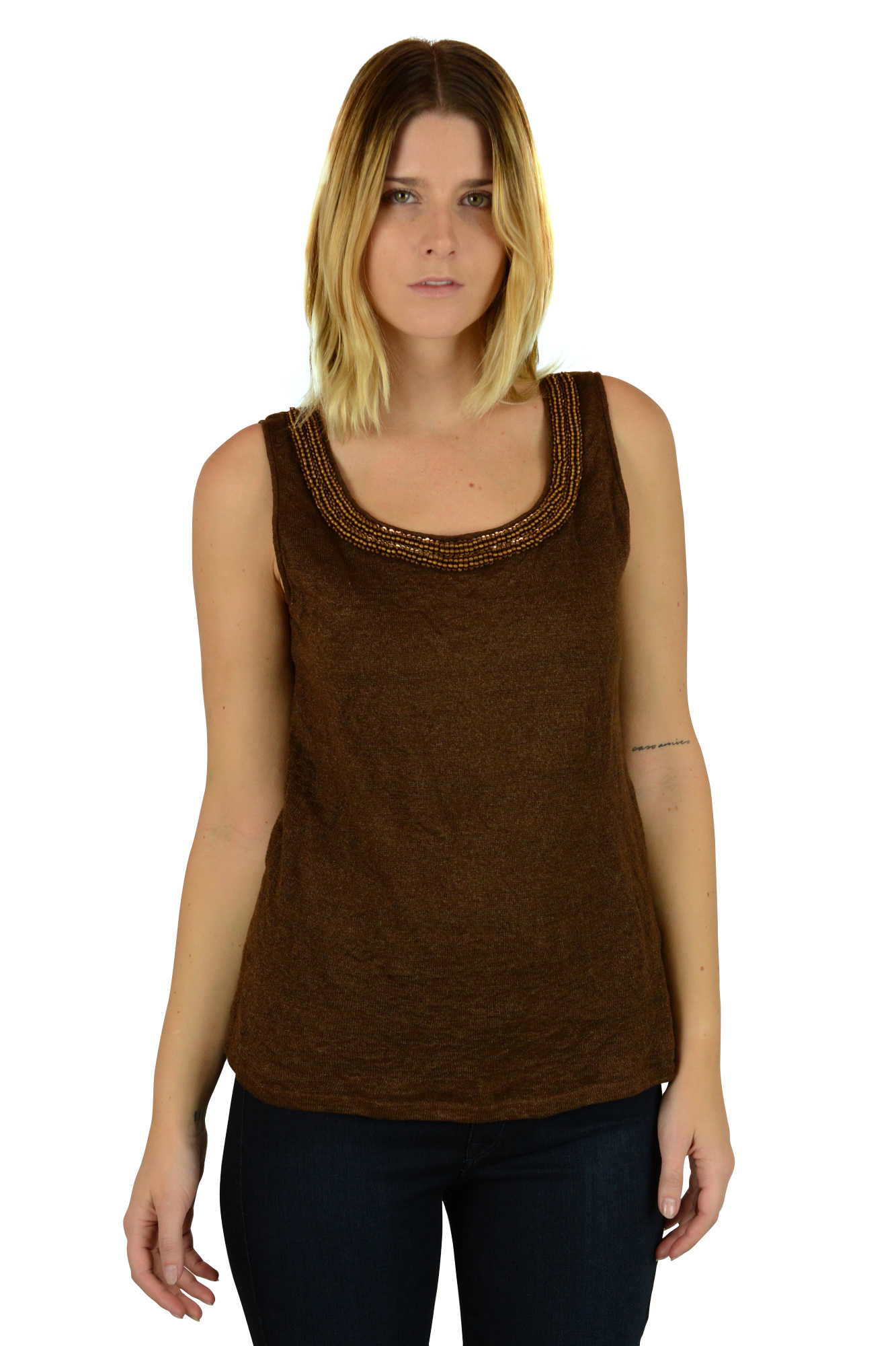 148 Best Images About Craft Ideas For Girls On Pinterest: Lafayette 148 Womens Brown Beaded Linen Blend Sleeveless
