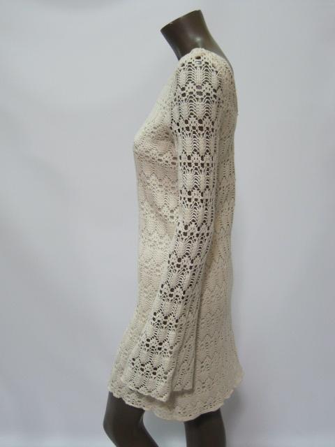 Judith March womens ivory crochet long sleeve dress $120 New