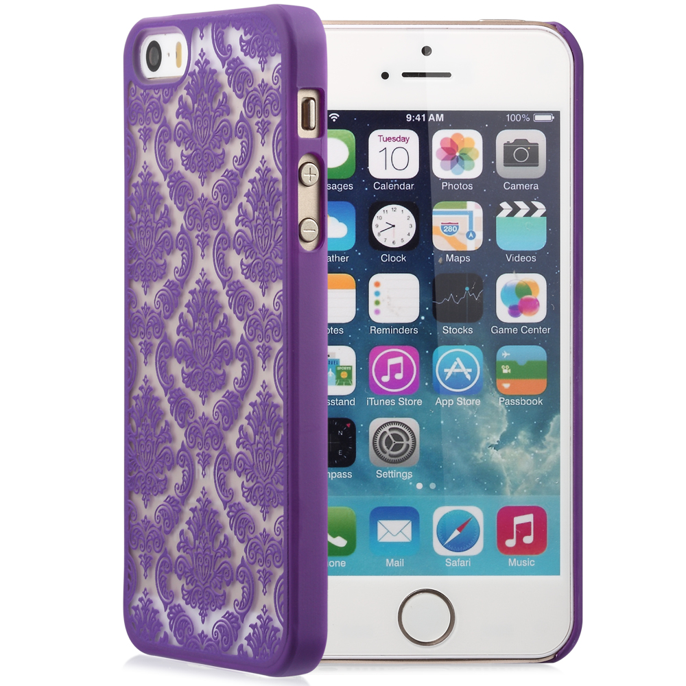 iphone 5 rubber cases damask vintage pattern rubber protector cover 14571