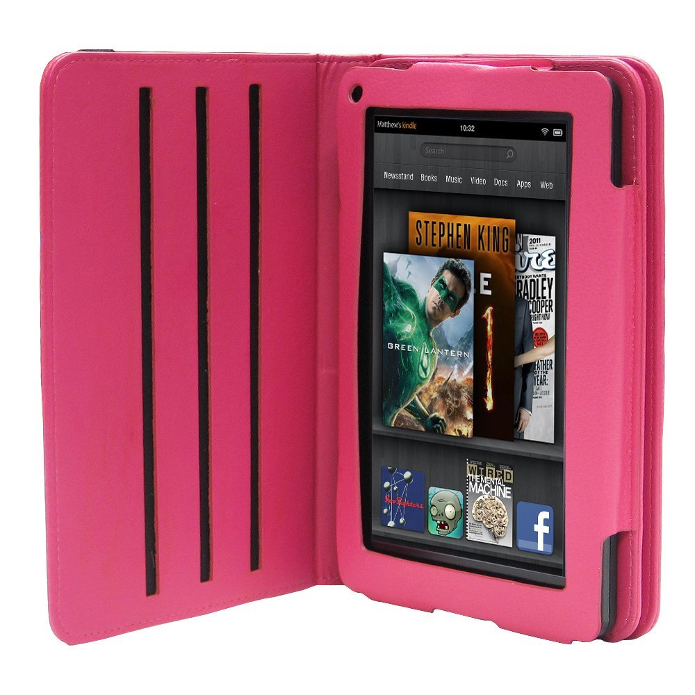 Fosmon rotating leather case cover for amazon kindle fire for Amazon casa