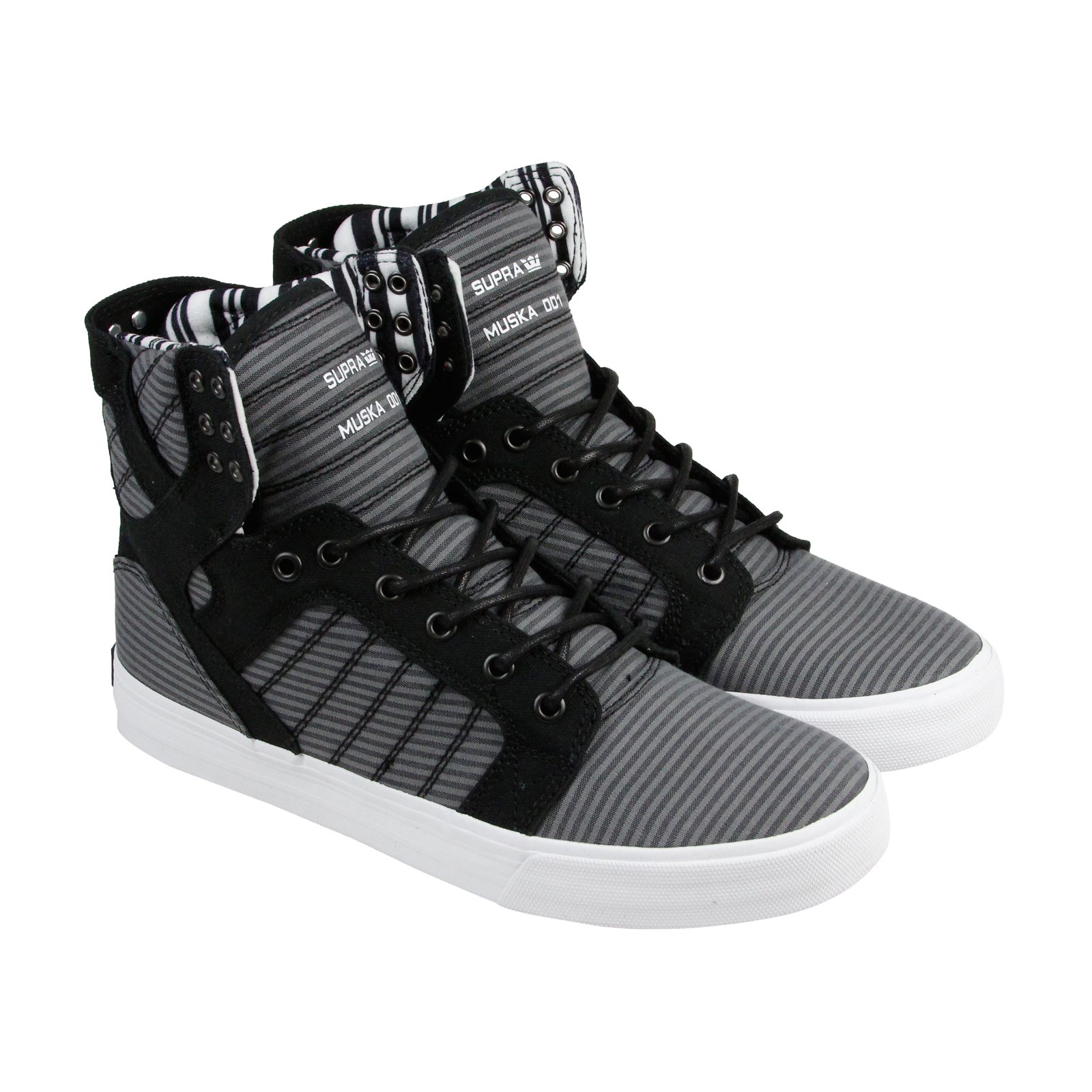 3fd10207875f Supra Skytop Mens Black Gray Canvas High Top Lace Up Sneakers Shoes ...
