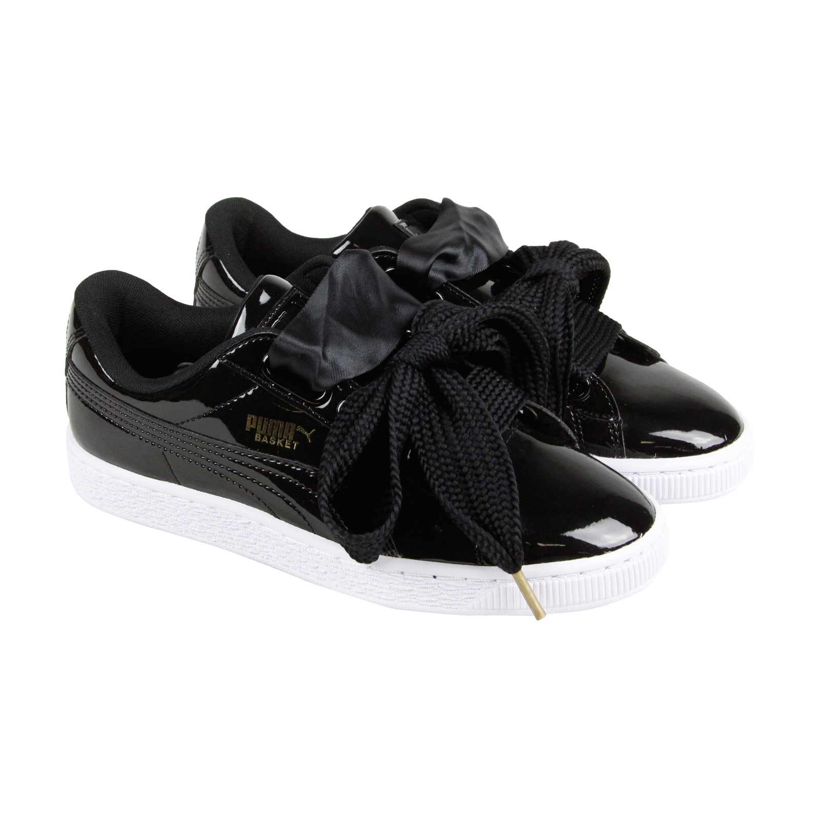 size 40 3003e 380e5 PUMA BASKET HEART Patent Womens Black Patent Leather Lace Up Sneakers Shoes