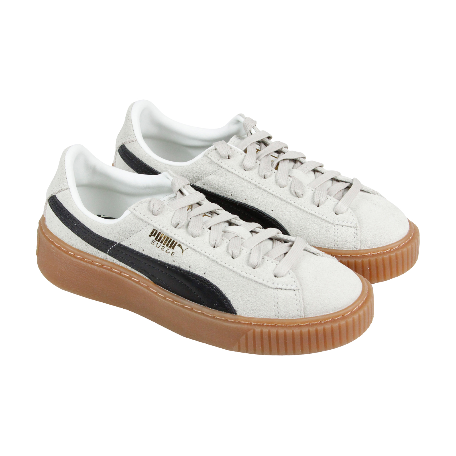 Puma Platform Core Damenschuhe WEISS Suede Lace Up Sneakers Schuhes