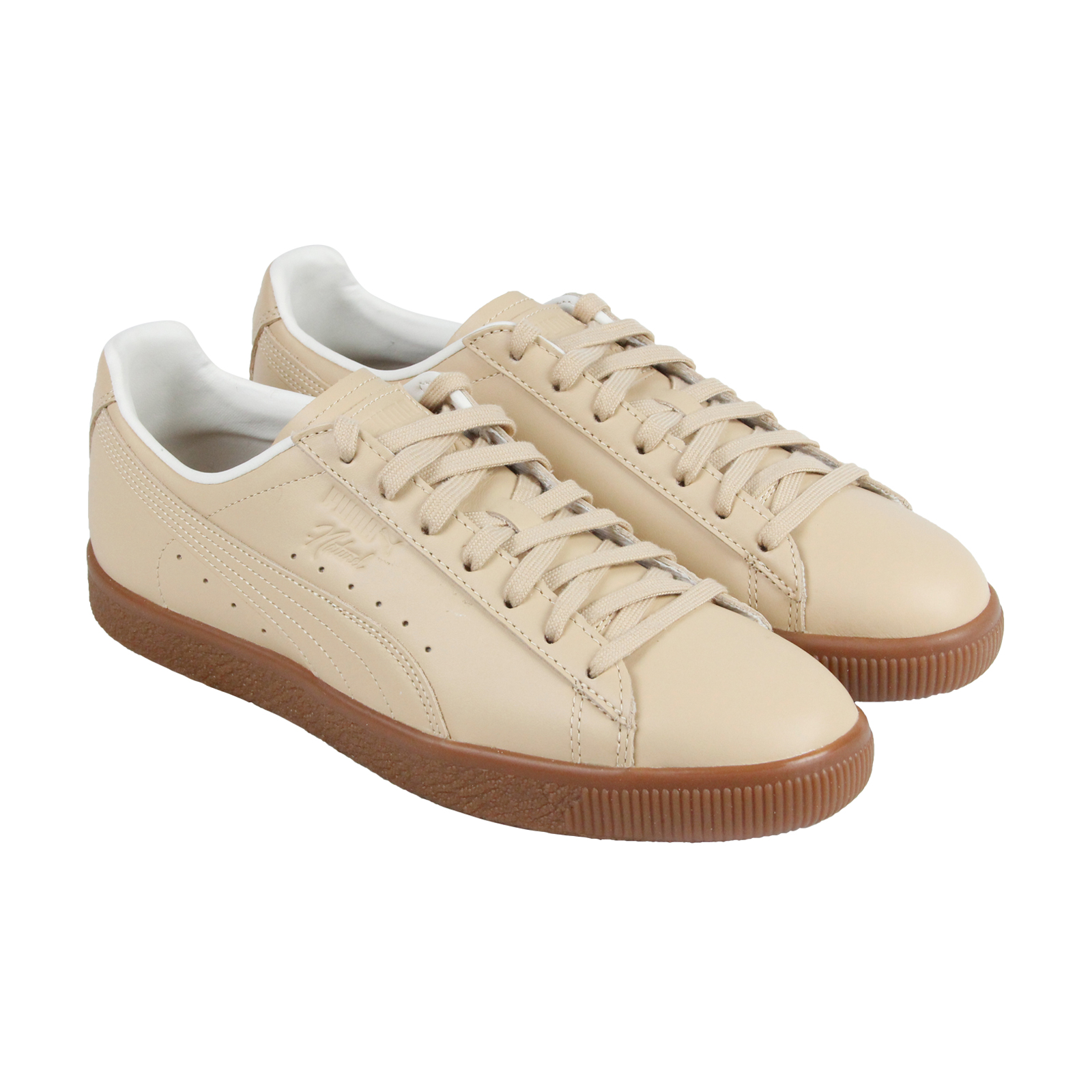 Puma Clyde Vegan Mens Beige Leather Lace Up Sneakers Shoes