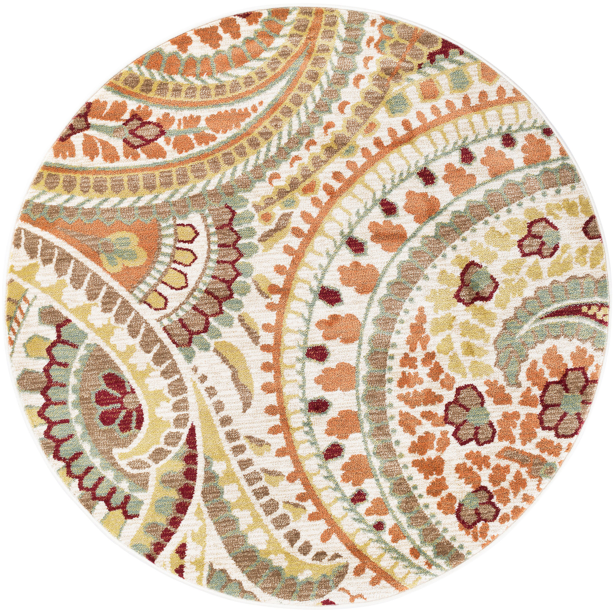 Paisley Area Rugs: Ivory Transitional Paisley Area Rug Floral Leaves Multi