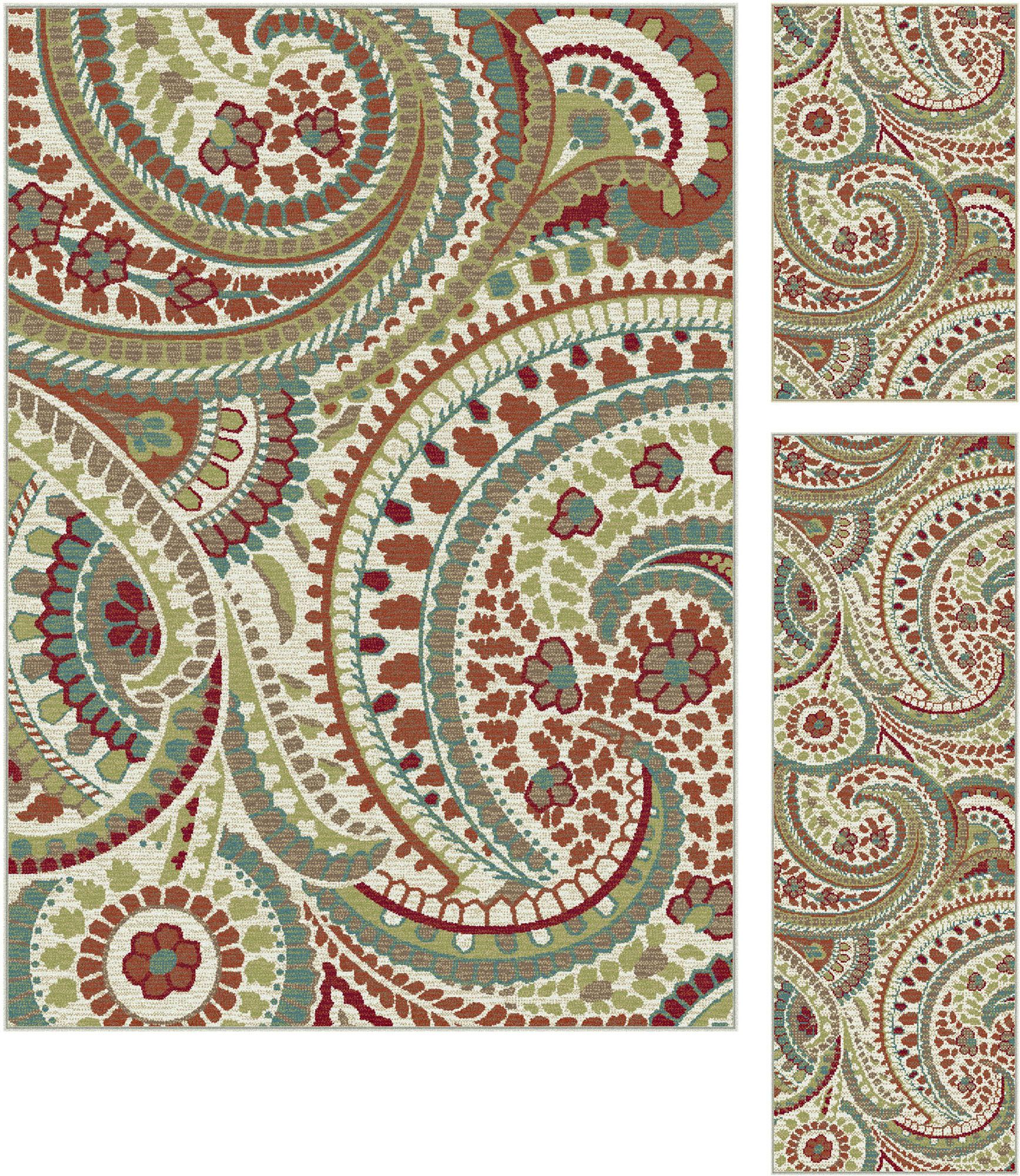Ivory Transitional Paisley Area Rug Floral Leaves Multi