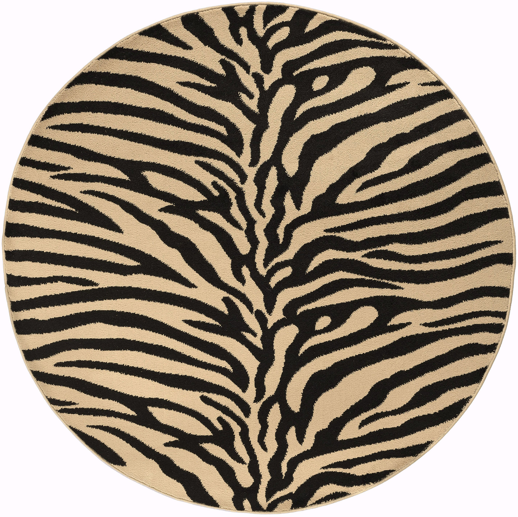 Modern Exotic Zebra Animal Print 8' Round Area Rug Safari