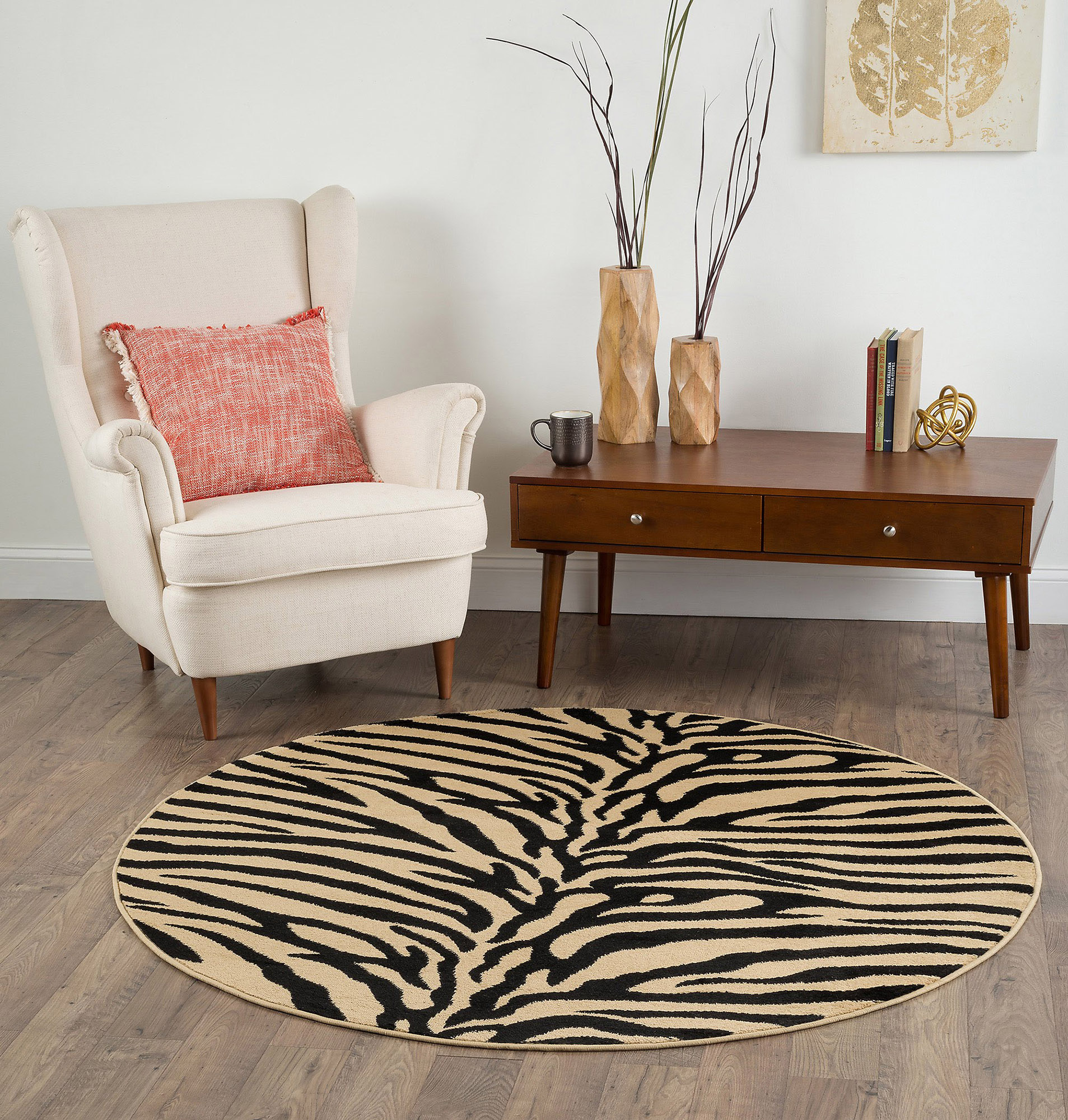 Modern Exotic Zebra Animal Print 8' Round Area Rug Safari