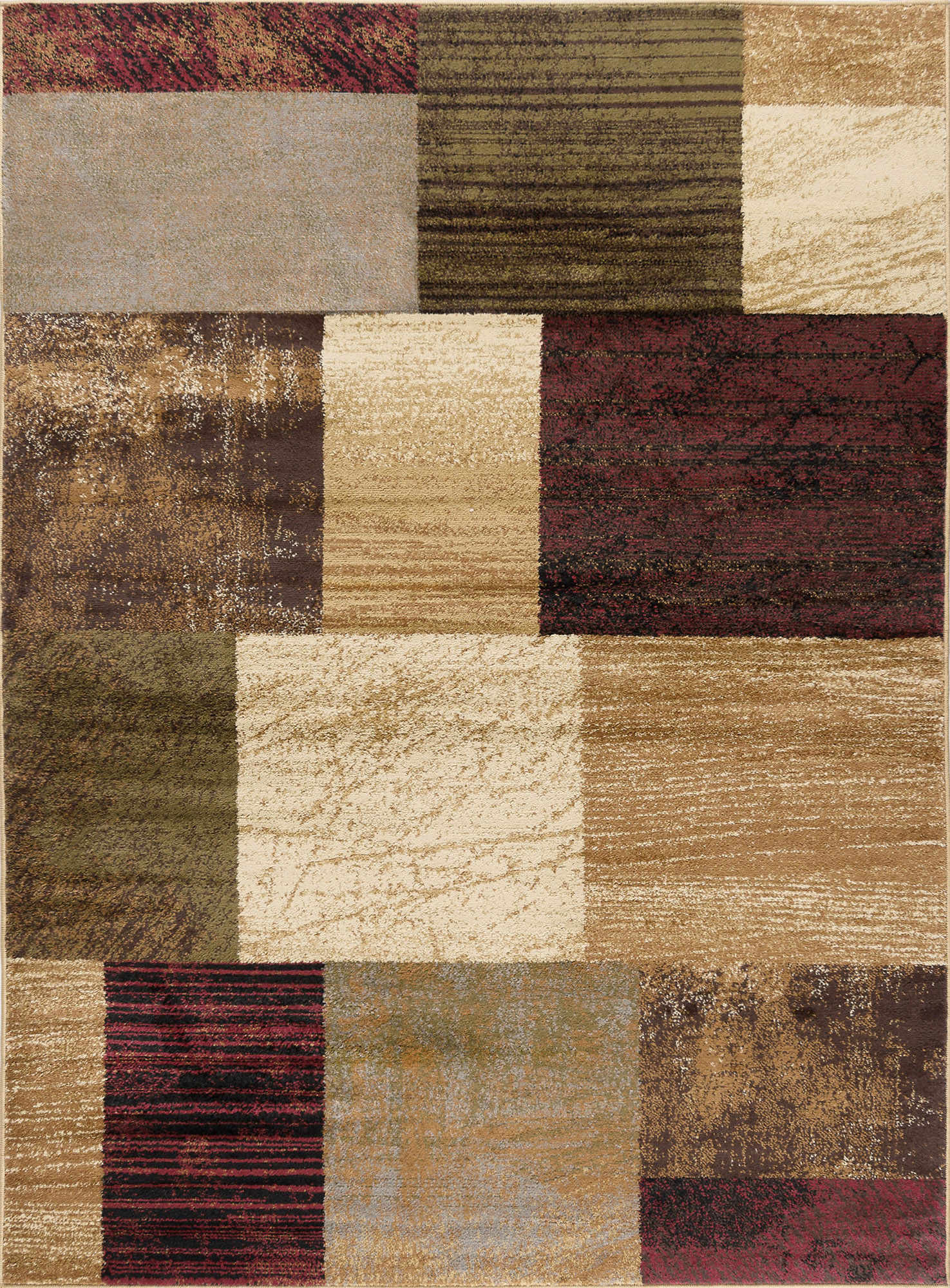 Modern Brown Geometric Blocks Squares Area Rug