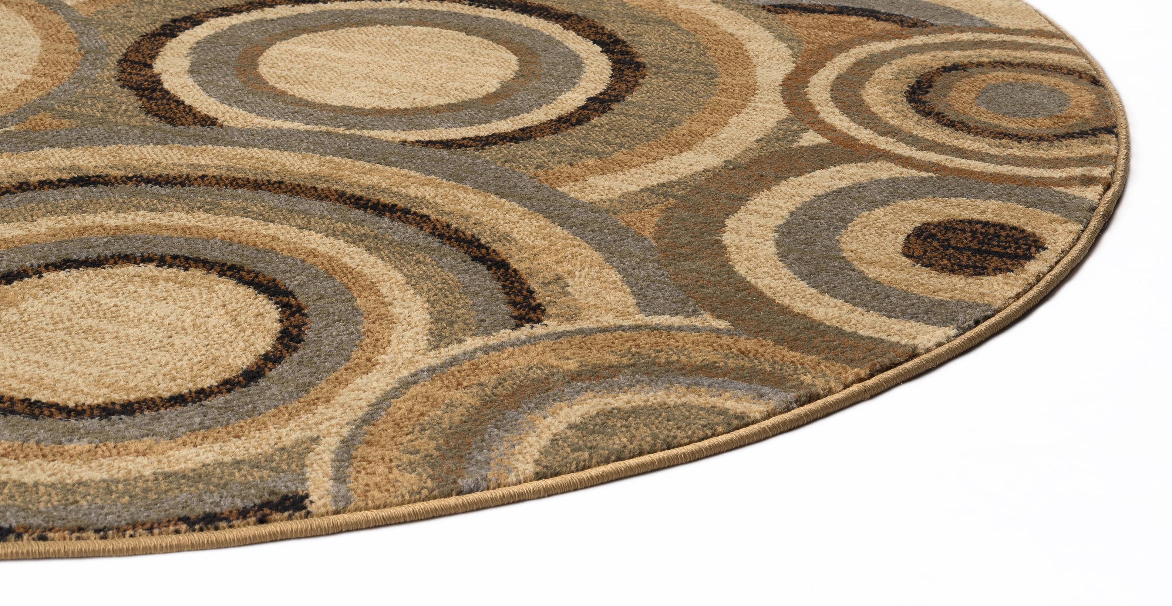 Beige Circle Contemporary 8 Round Area Rug Geometric Modern
