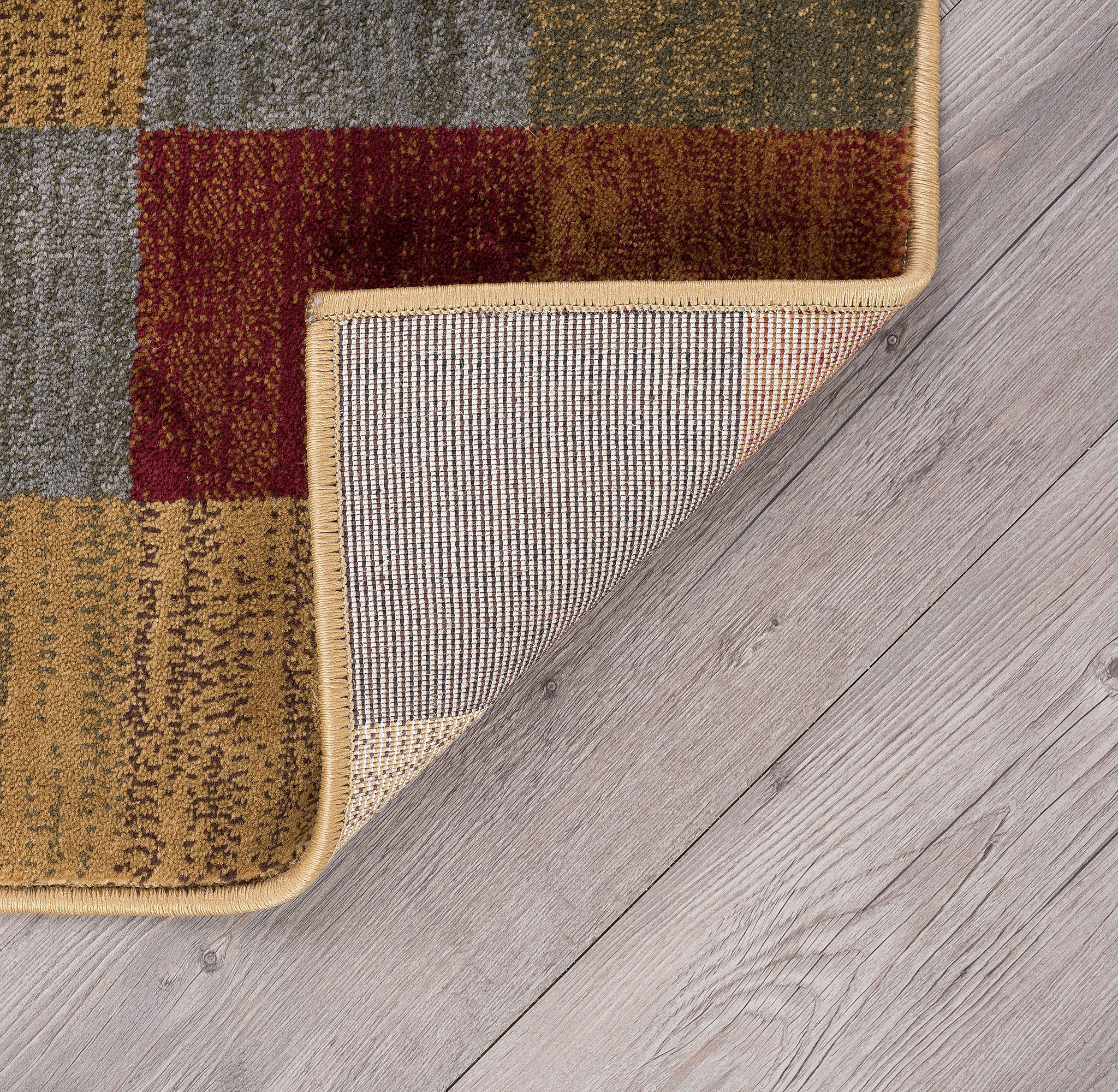 Checked Area Rugs: Multi-Color Checked Modern Area Rug Boxes 2x7 Carpet