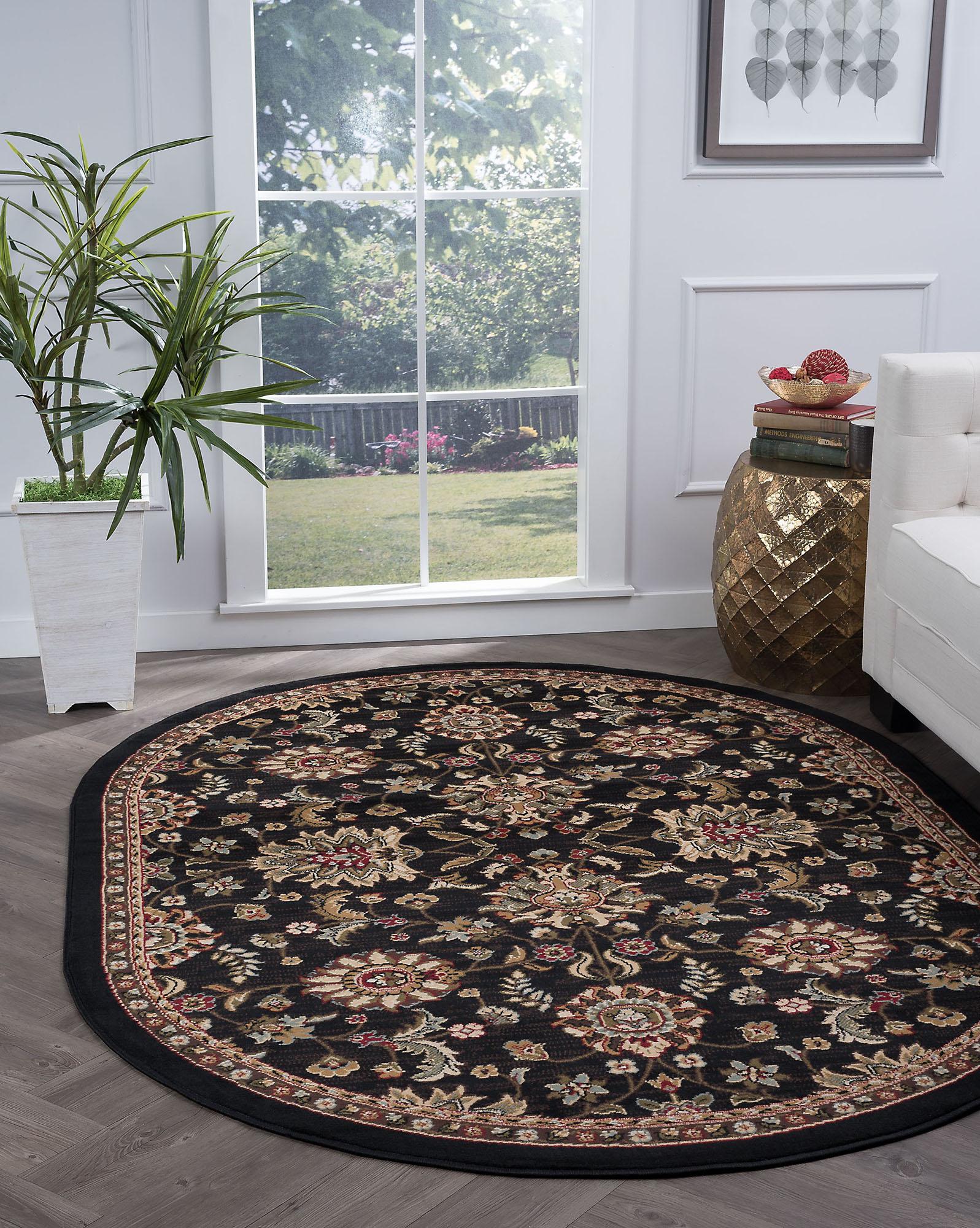 Gray Oriental Border 6' Oval Area Rug Leaf Persien Carpet: A