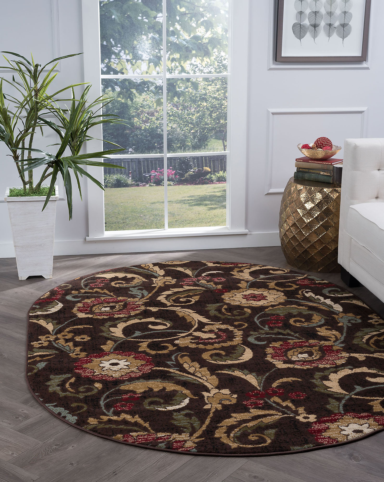 Brown Flowers Scrolls Vines Floral Area Rug Oval 5058 - Aprx