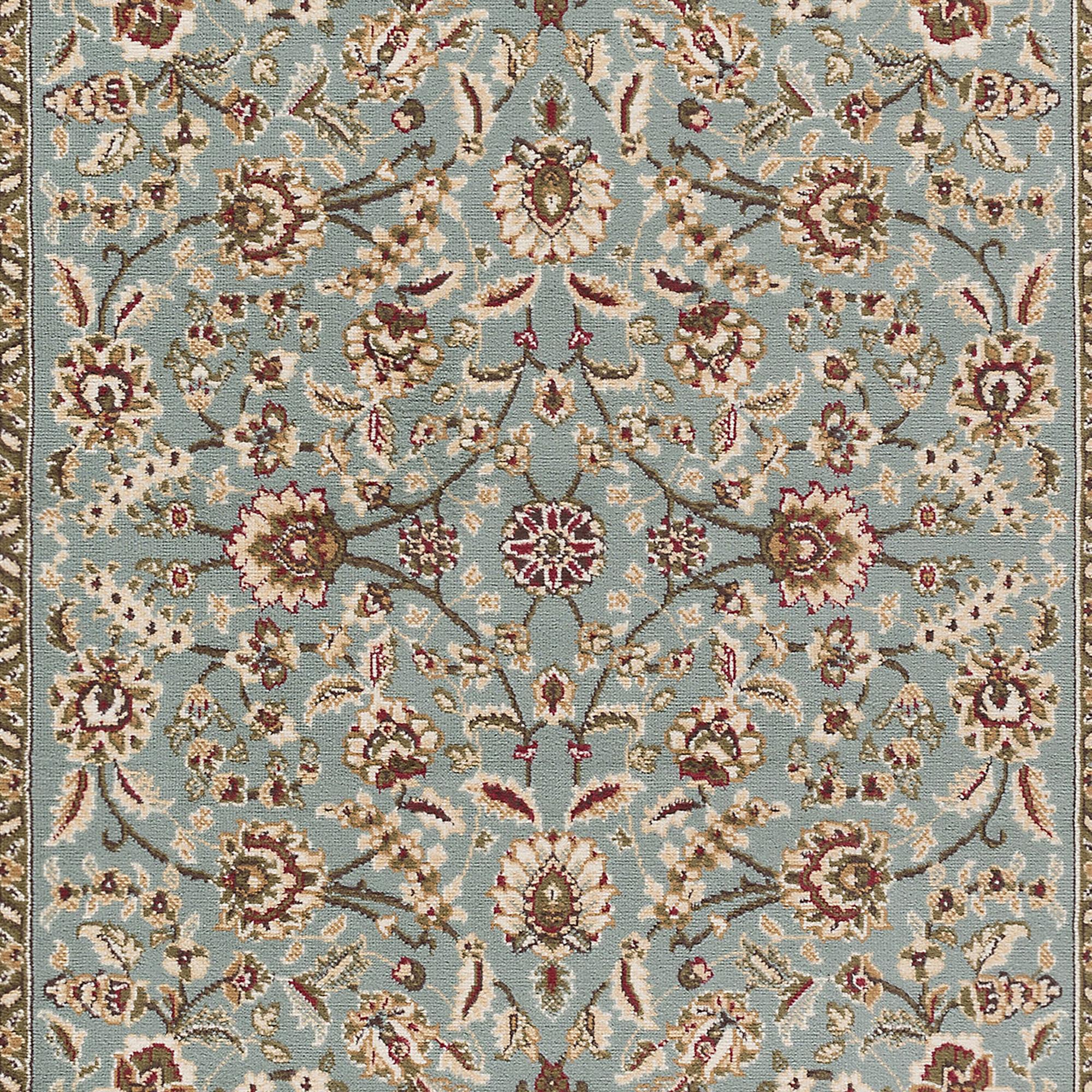 Blue Oriental 6' Oval Area Rug Vine Border Persian Carpet