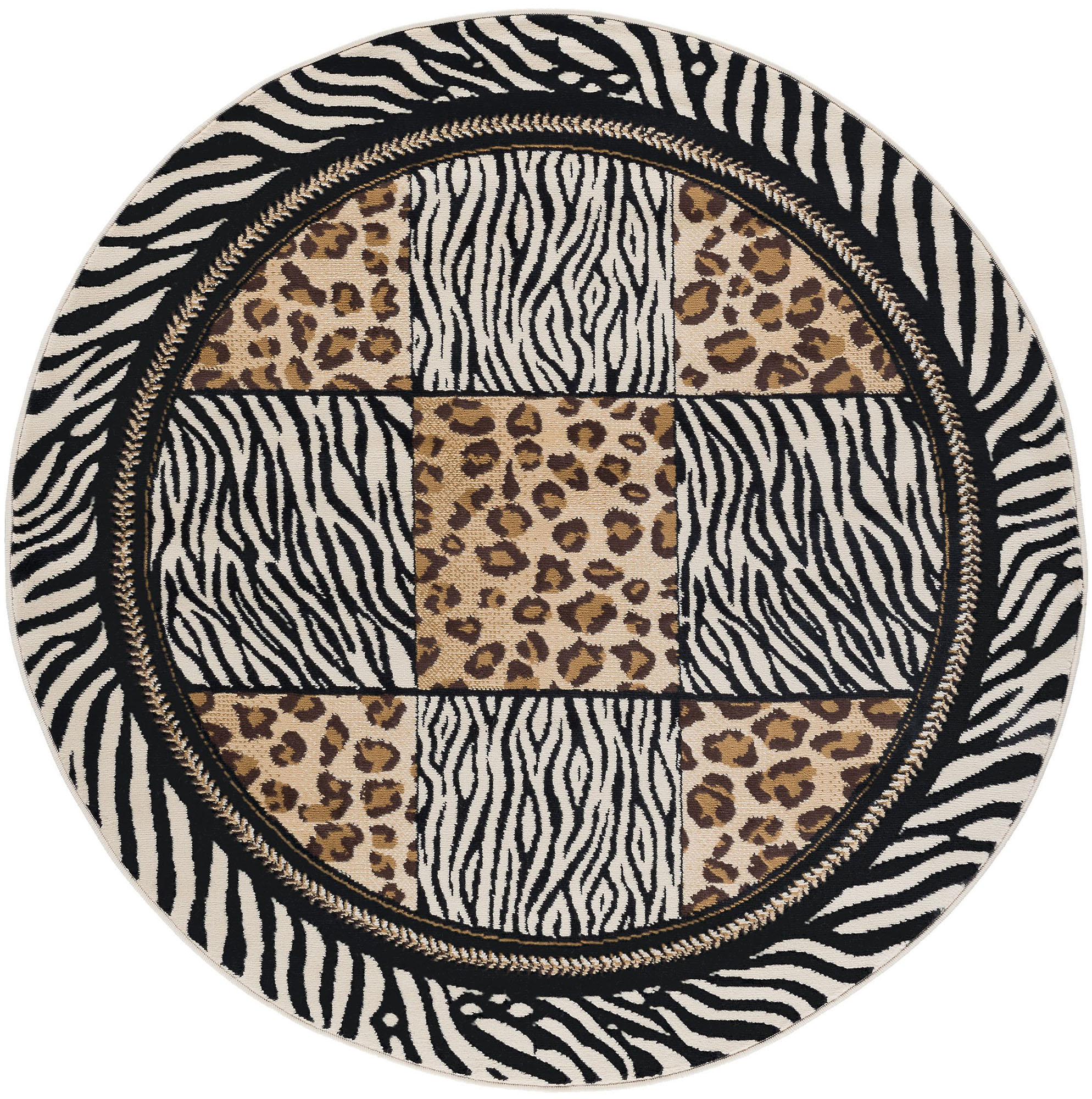 Multi Color Casual Leopard Print Geometric Squares Area