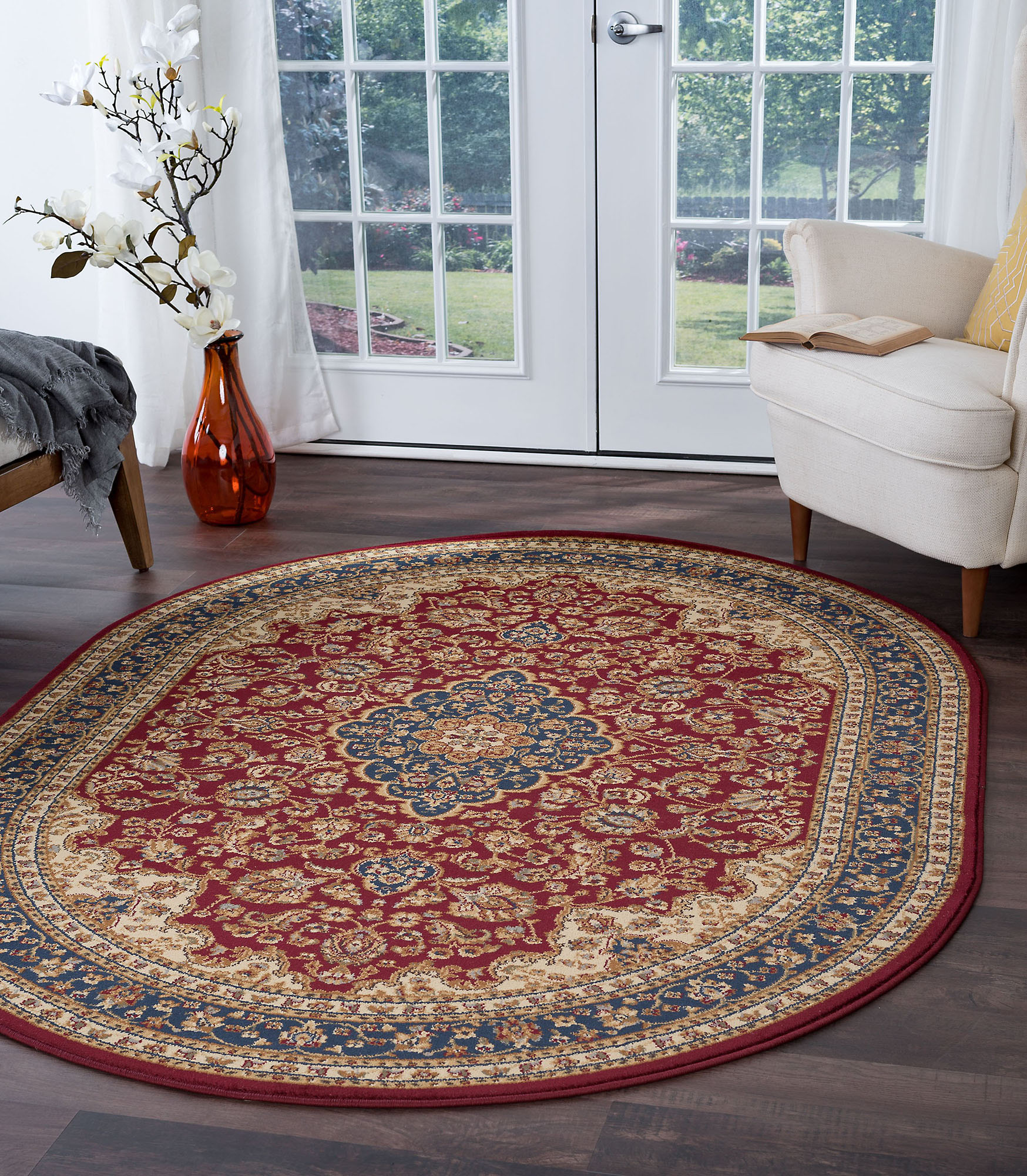 Details About Red Traditional Oriental 6 Oval Area Rug Bordered Carpet Actual 6 7 X 9 6