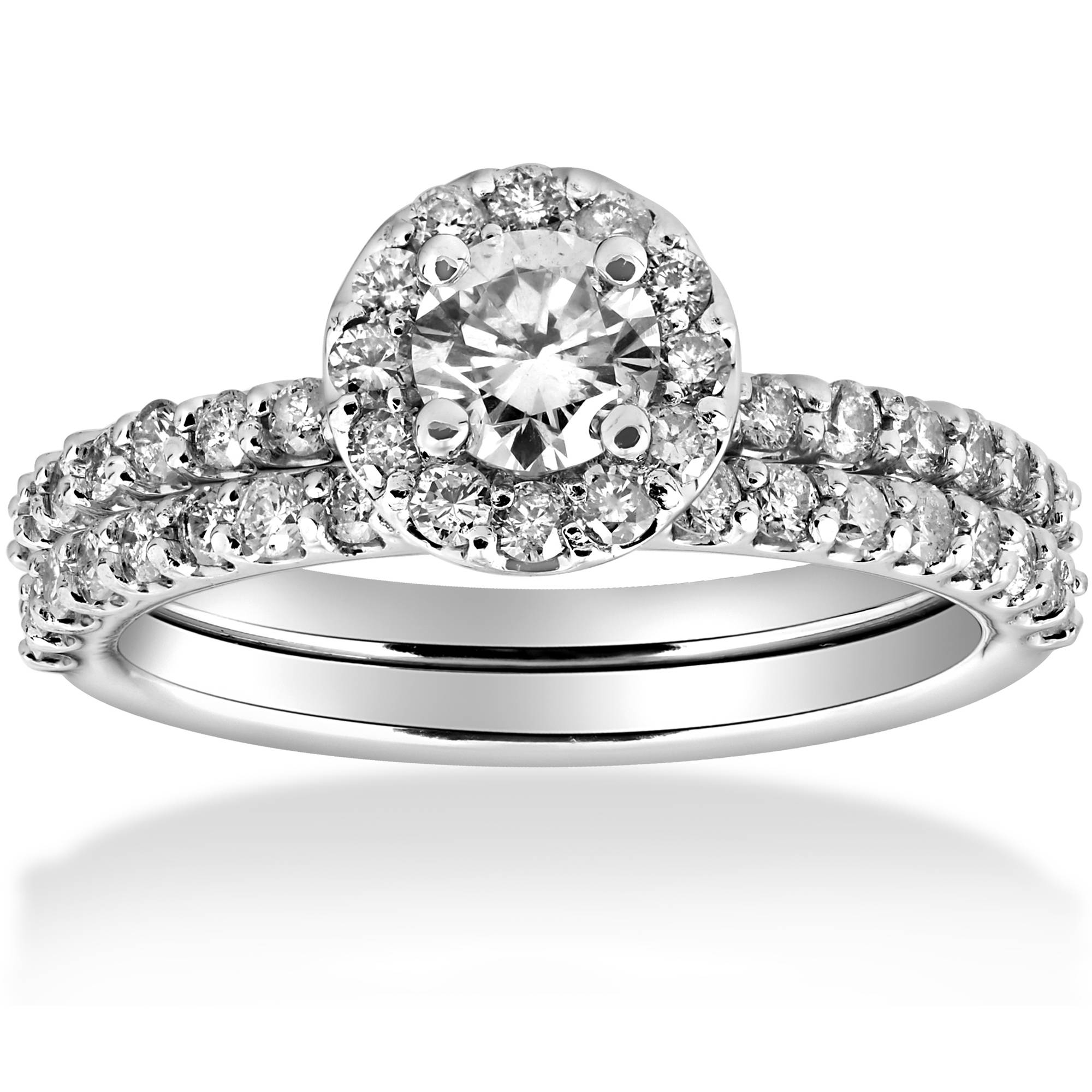 1 cttw Diamond Round Halo Solitaire Engagement Wedding ...