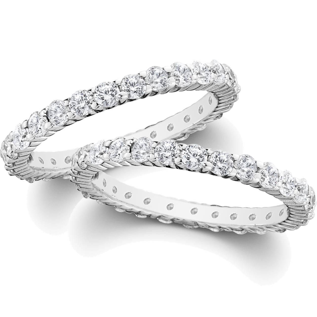 G Si 2ct Diamond Eternity Stackable Wedding Rings Set 14k White Gold