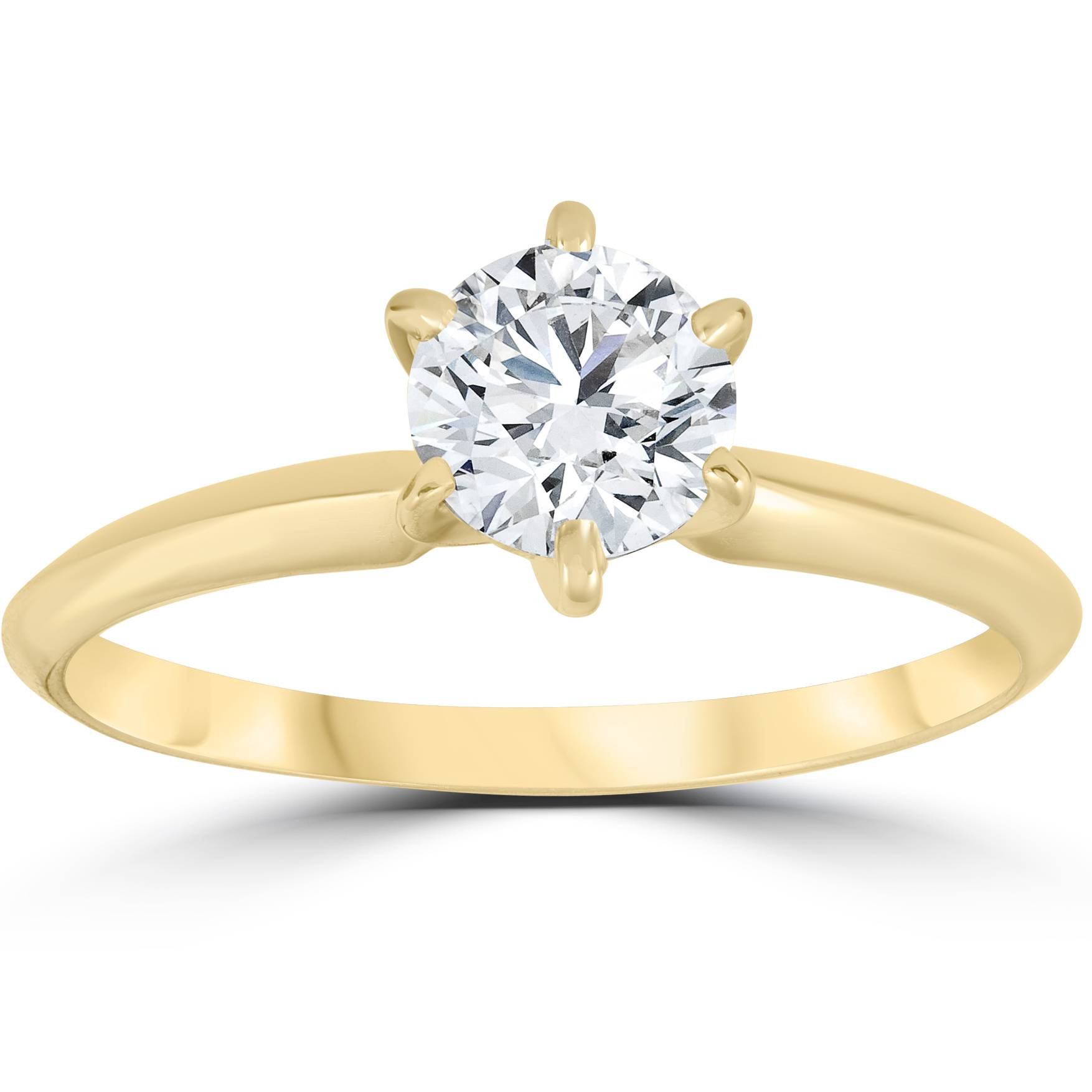 14k Yellow Gold 3/4ct Round Solitaire Diamond Engagement ...