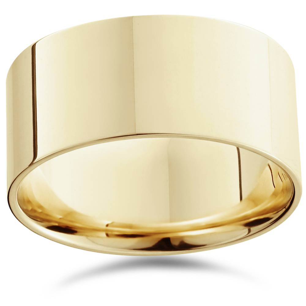 High Polished Flat Mens Wedding Band Ring Solid 14K Yellow