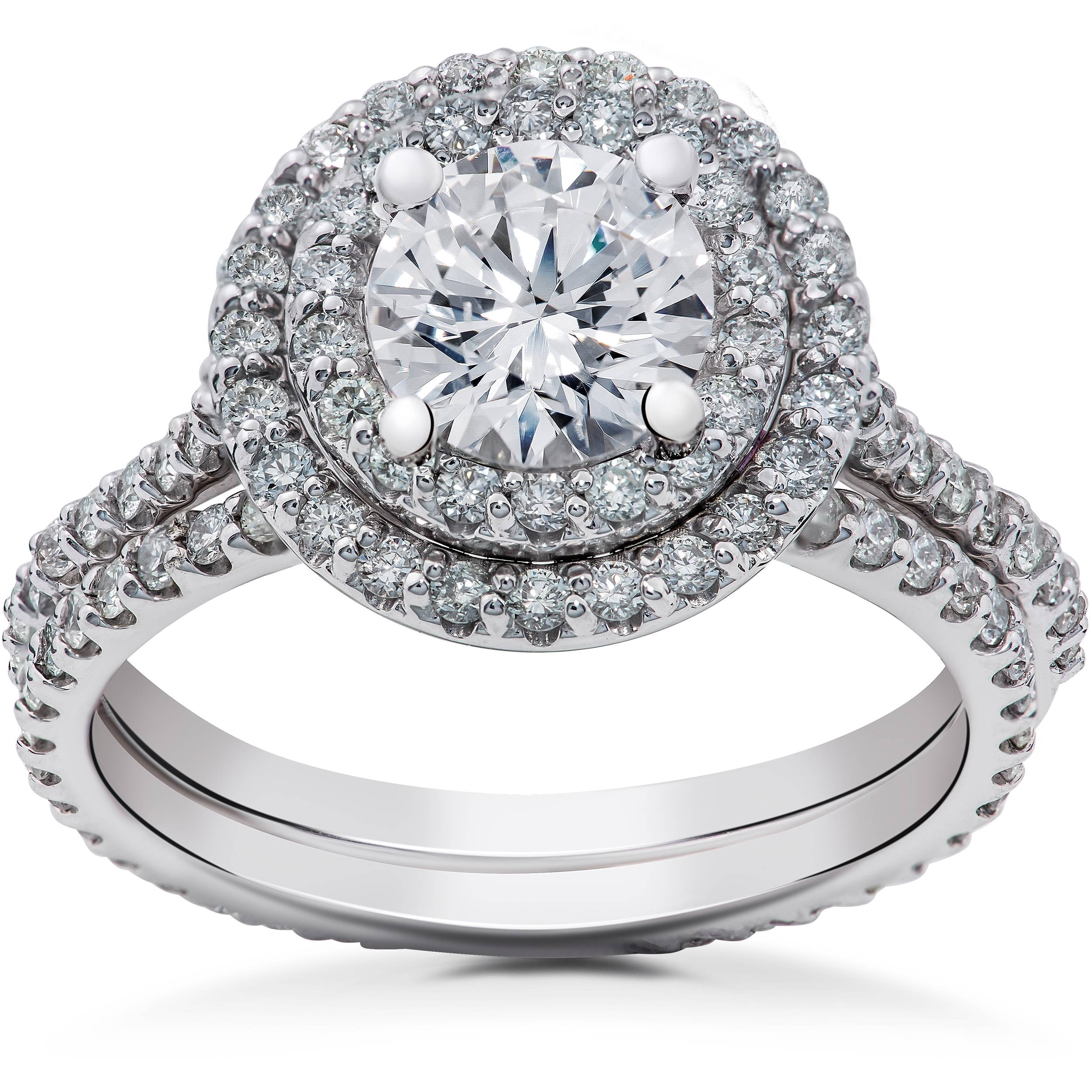 2 ct Round Halo Diamond Engagement Ring Setting & Matching ...