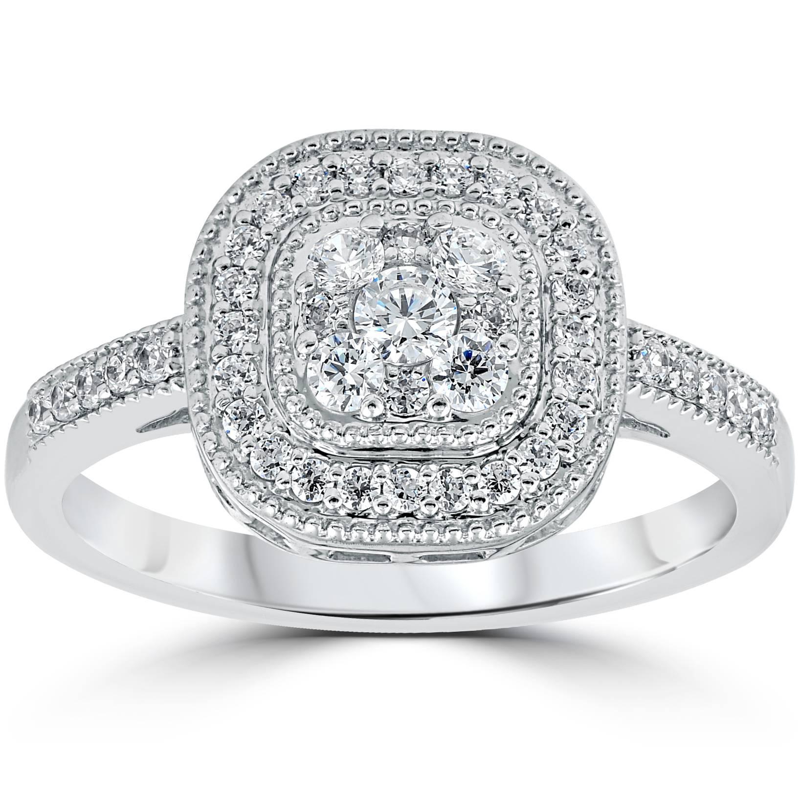 3 8ct vintage natural diamond cushion halo shape ring. Black Bedroom Furniture Sets. Home Design Ideas