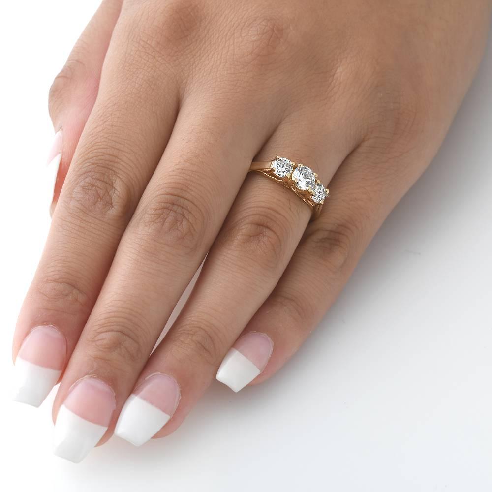 1ct three stone diamond engagement womens anniversary ring