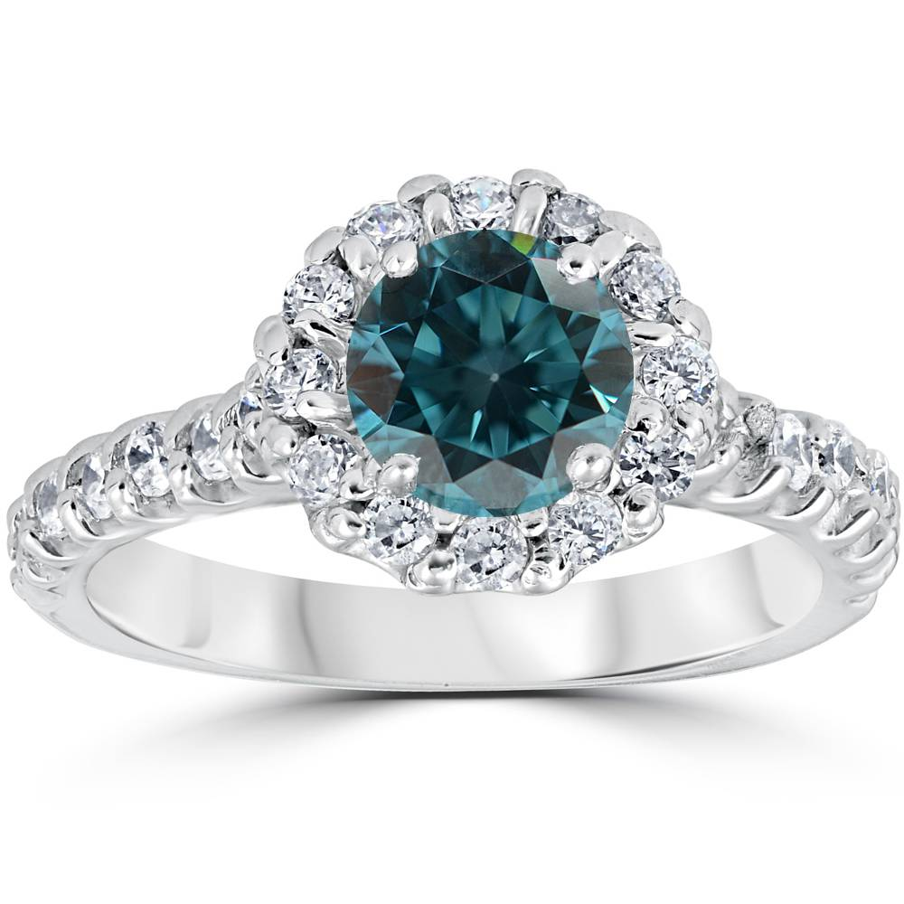1 38ct treated blue diamond halo engagement ring solid