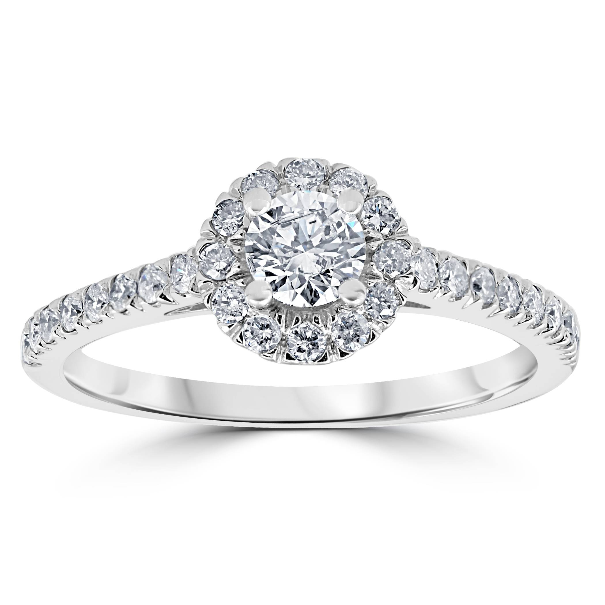7 8ct halo lab created diamond engagement ring 14k white for Lab created diamond wedding rings