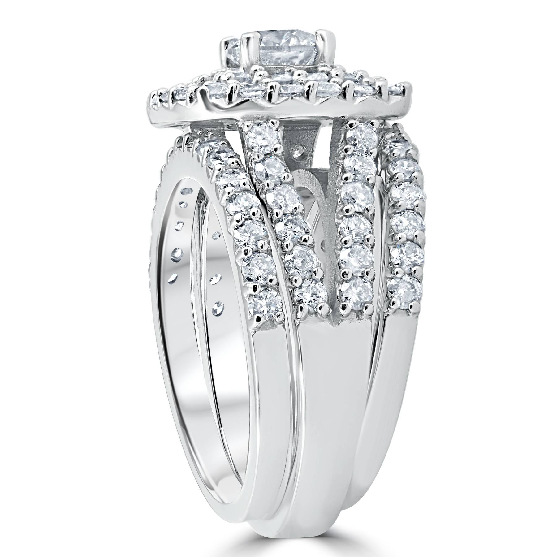 3 ct Diamond Engagement Wedding Double Cushion Halo Trio Ring Set ...