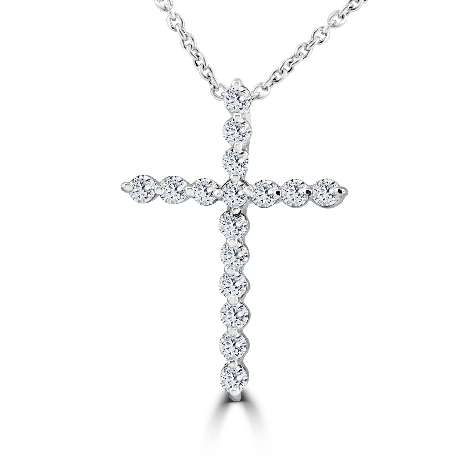 3 8ct real diamond cross pendant white gold necklace ebay. Black Bedroom Furniture Sets. Home Design Ideas