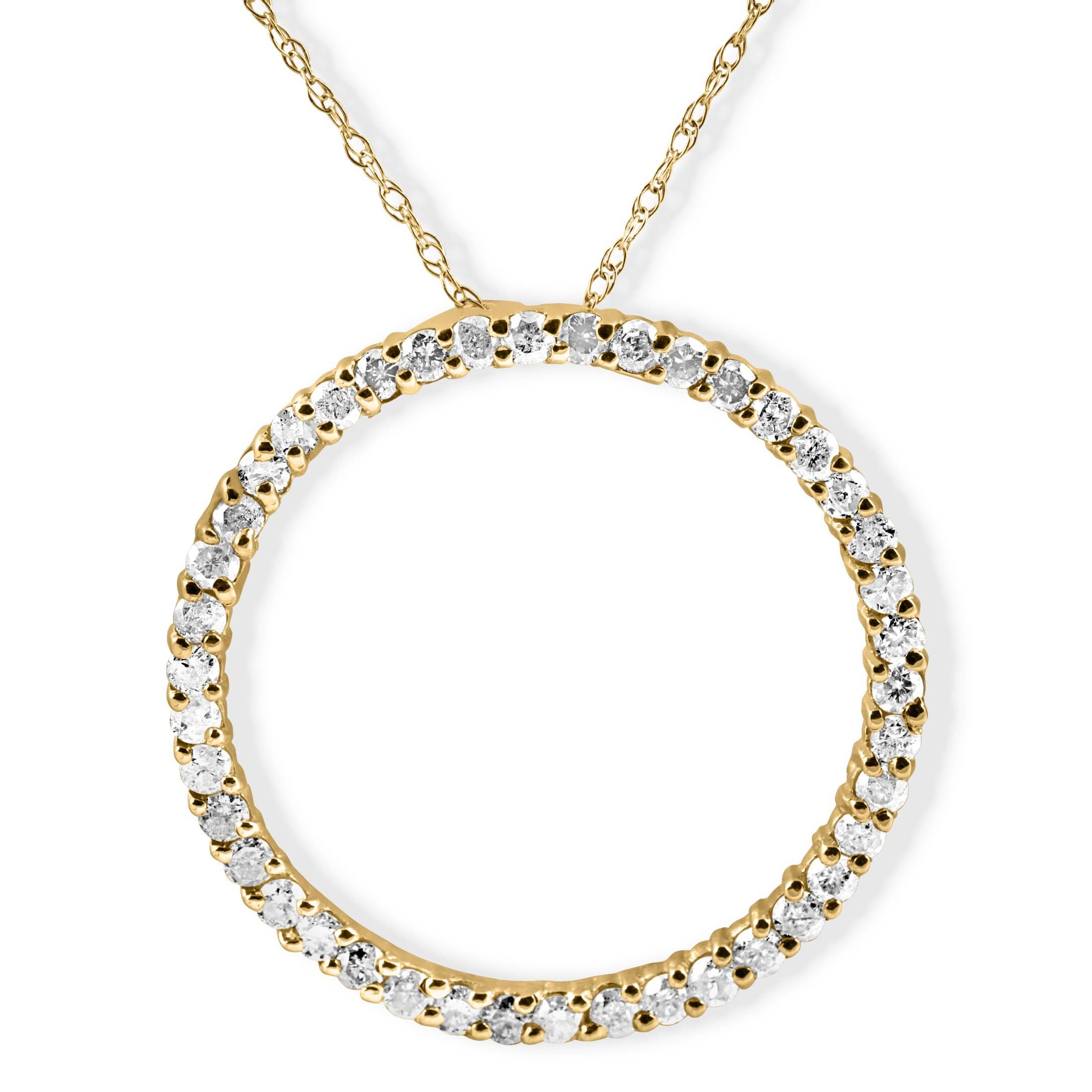 1ct diamond 14k yellow gold circle of life pendant 18 chain. Black Bedroom Furniture Sets. Home Design Ideas