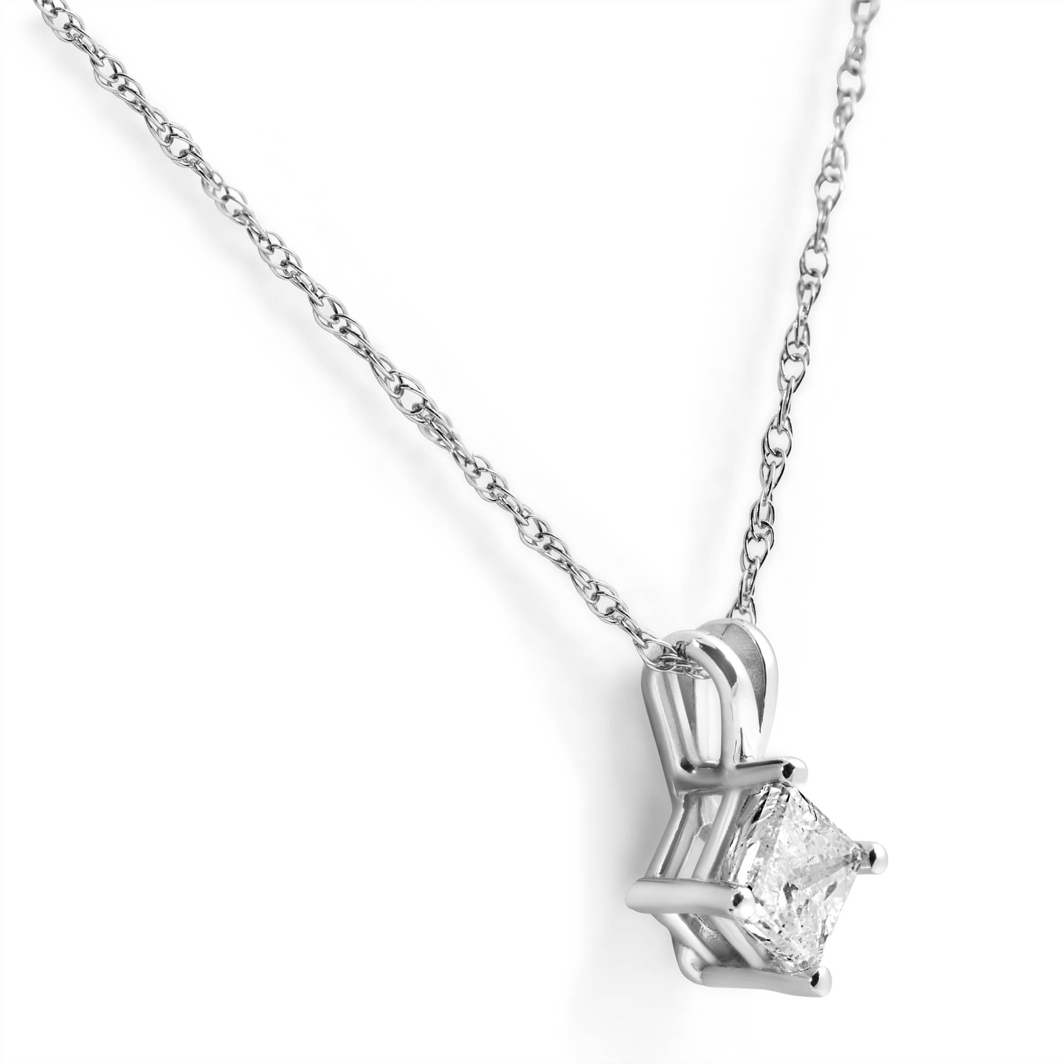 1 3ct princess cut solitaire natural diamond 14k white. Black Bedroom Furniture Sets. Home Design Ideas