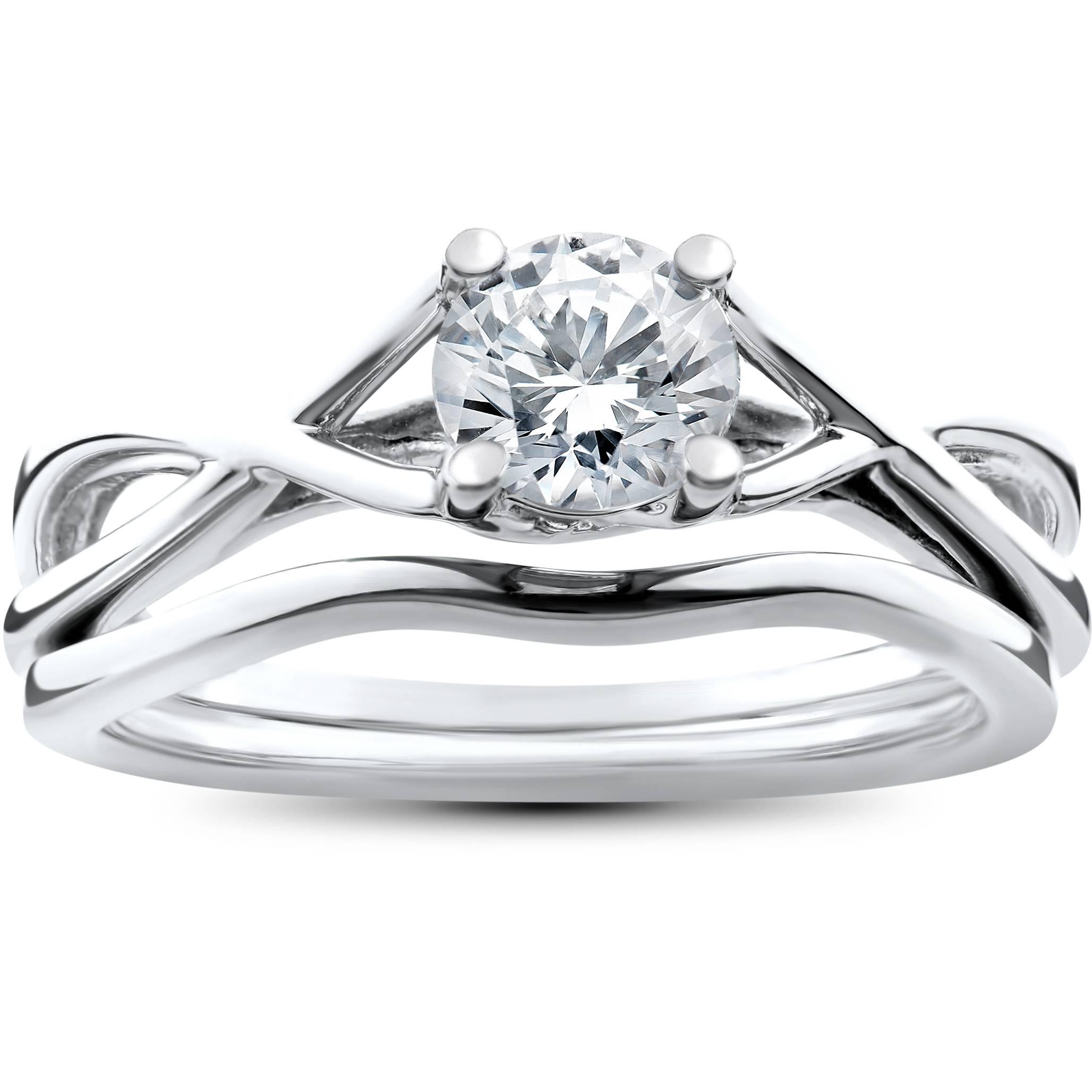 Matching Diamond Engagement And Wedding Ring 1 46ct: 1/2 Ct Solitaire Diamond Engagement Ring Infinity Matching