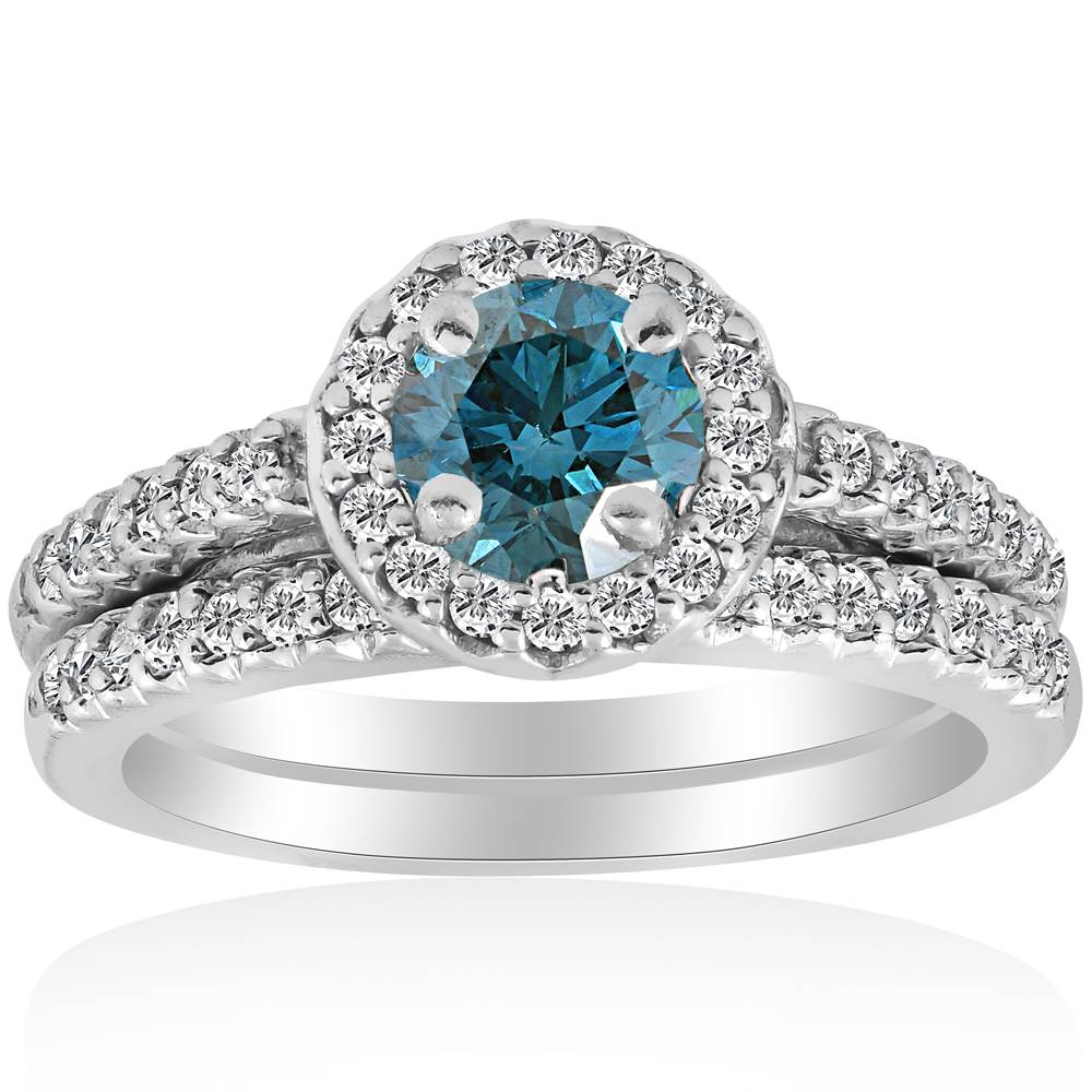 blue diamond halo engagement ring 34ct matching wedding
