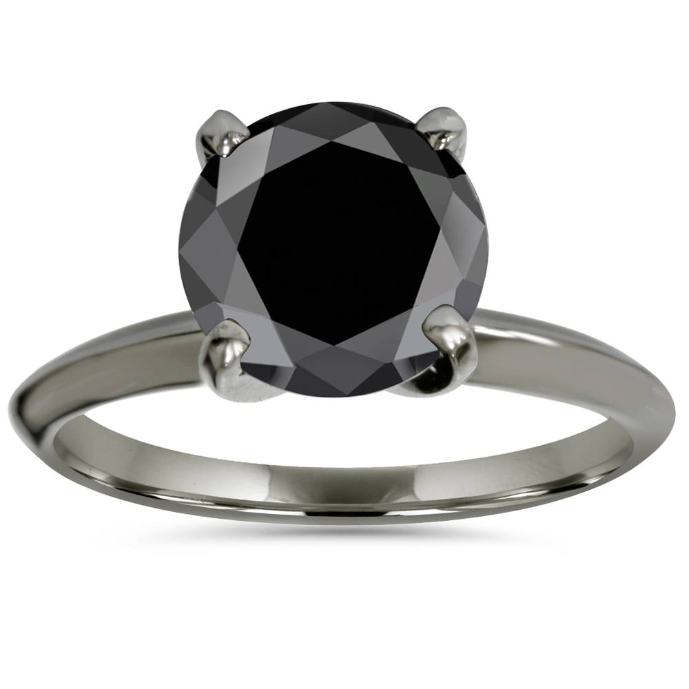 2ct Treated Black Diamond Solitaire Engagement Ring 14K ...