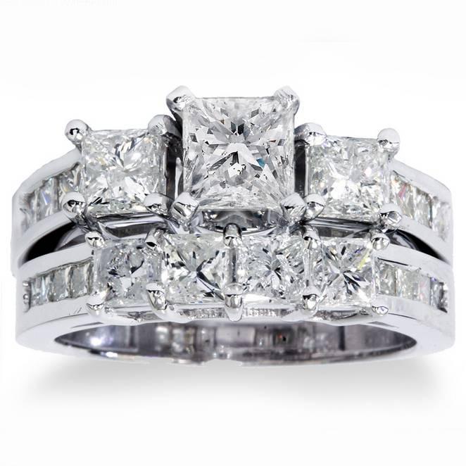 c5380ecde Details about 3 1/2ct Princess Cut Diamond Engagement Ring Wedding Band  3-Stone Set White Gold