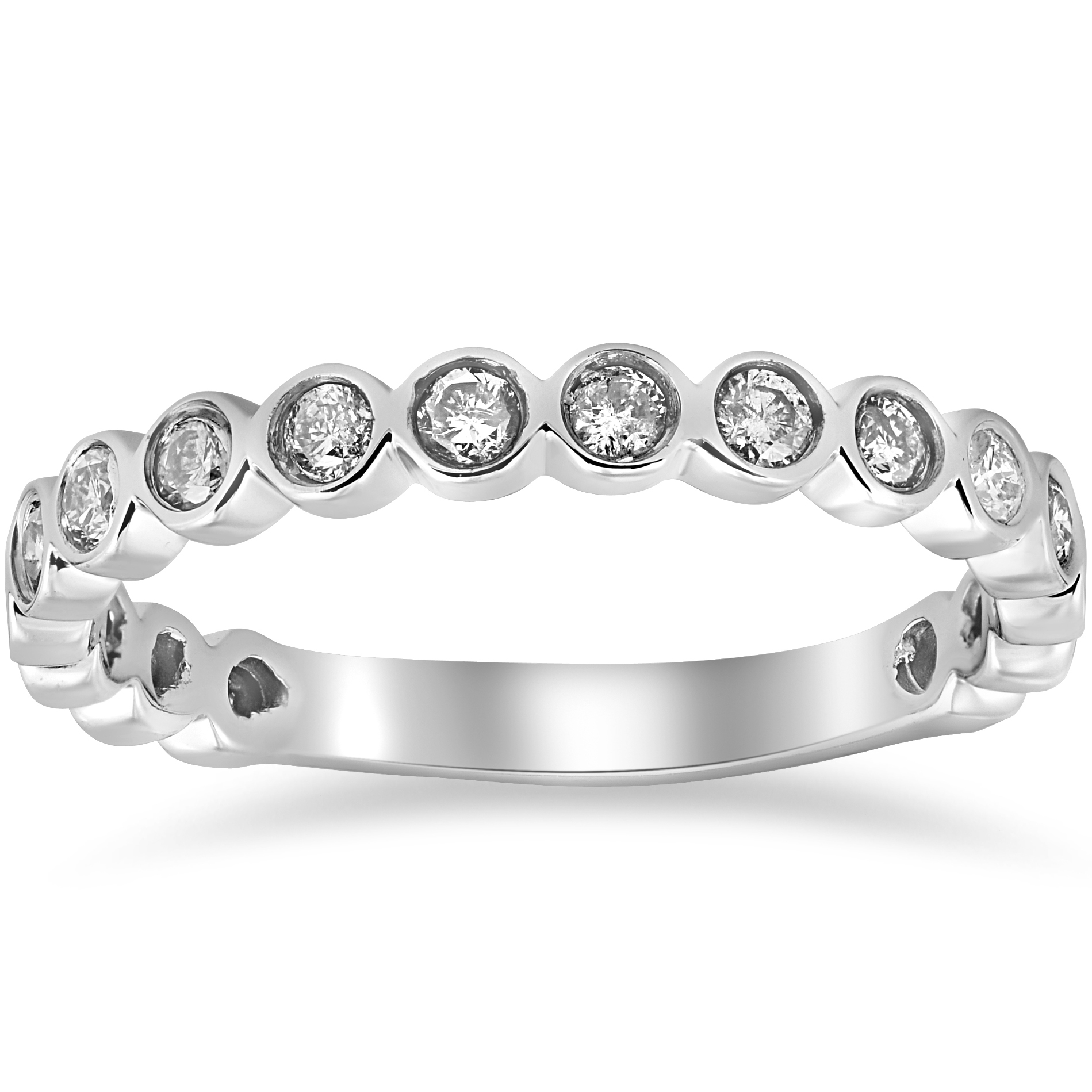 1 2ct stackable bezel diamond wedding ring 14k white gold anniversary band ebay. Black Bedroom Furniture Sets. Home Design Ideas