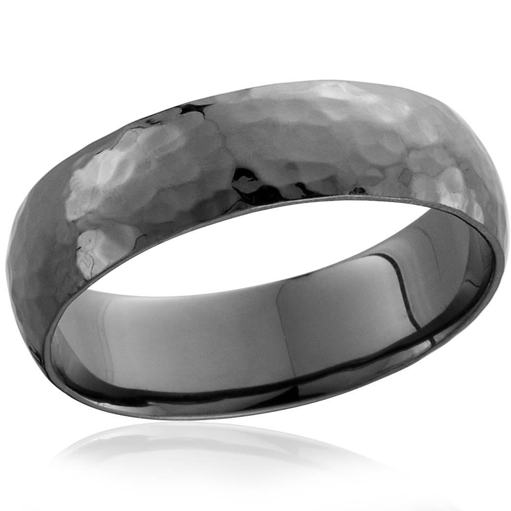 Mens 14K Black Gold Hammered Wedding Ring 6mm High ...