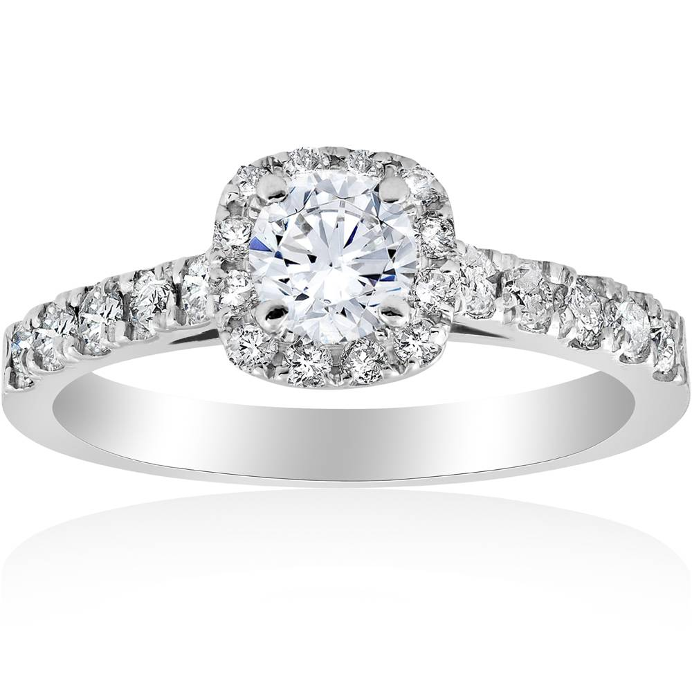 1 ct cushion halo round solitaire diamond engagement ring for 1 ct wedding ring
