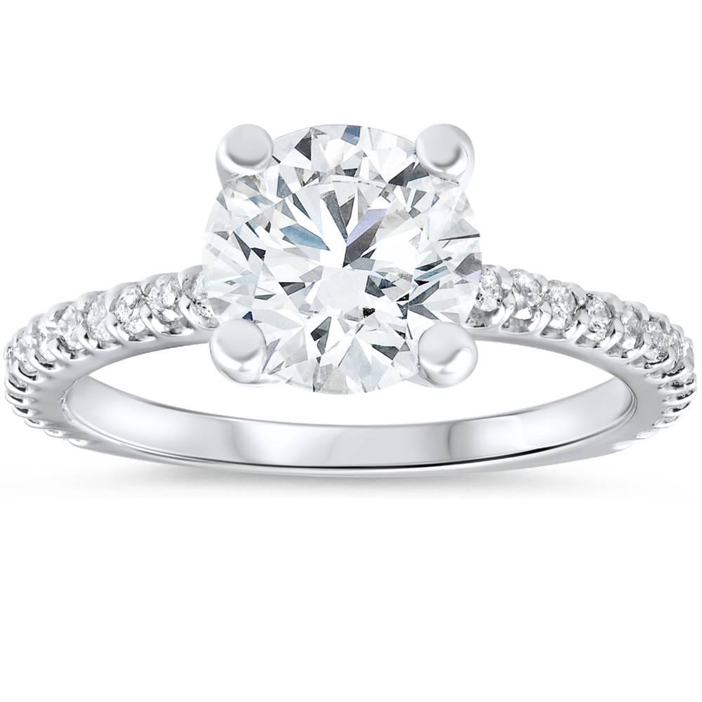 3 carat diamond engagement solitaire ring 14k white gold. Black Bedroom Furniture Sets. Home Design Ideas